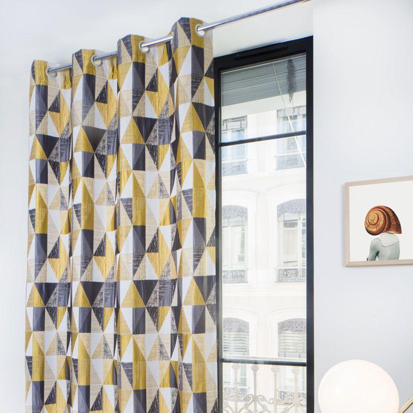 rideau jaune cheap bande jaune couleur rideau non doubl. Black Bedroom Furniture Sets. Home Design Ideas