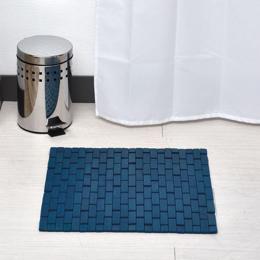Tapis de bain caillebotis bambou bleu tapis salle de for Caillebotis ikea salle de bain