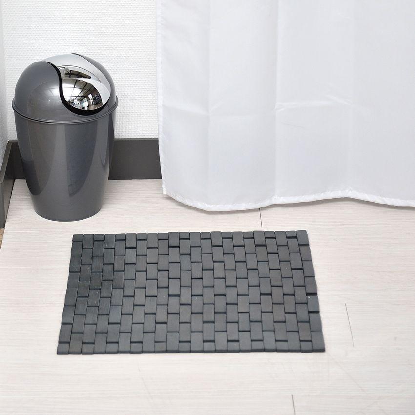 tapis de bain caillebotis bambou gris fonc tapis salle. Black Bedroom Furniture Sets. Home Design Ideas