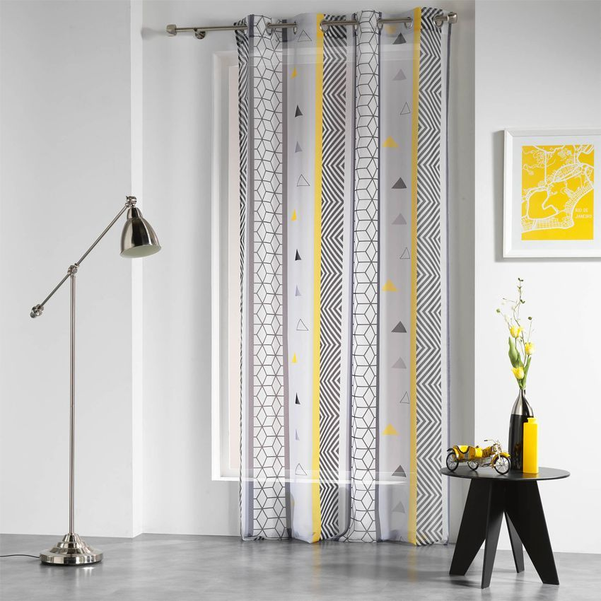 voilage 140 x h 240 cm yellow mix voilage eminza. Black Bedroom Furniture Sets. Home Design Ideas