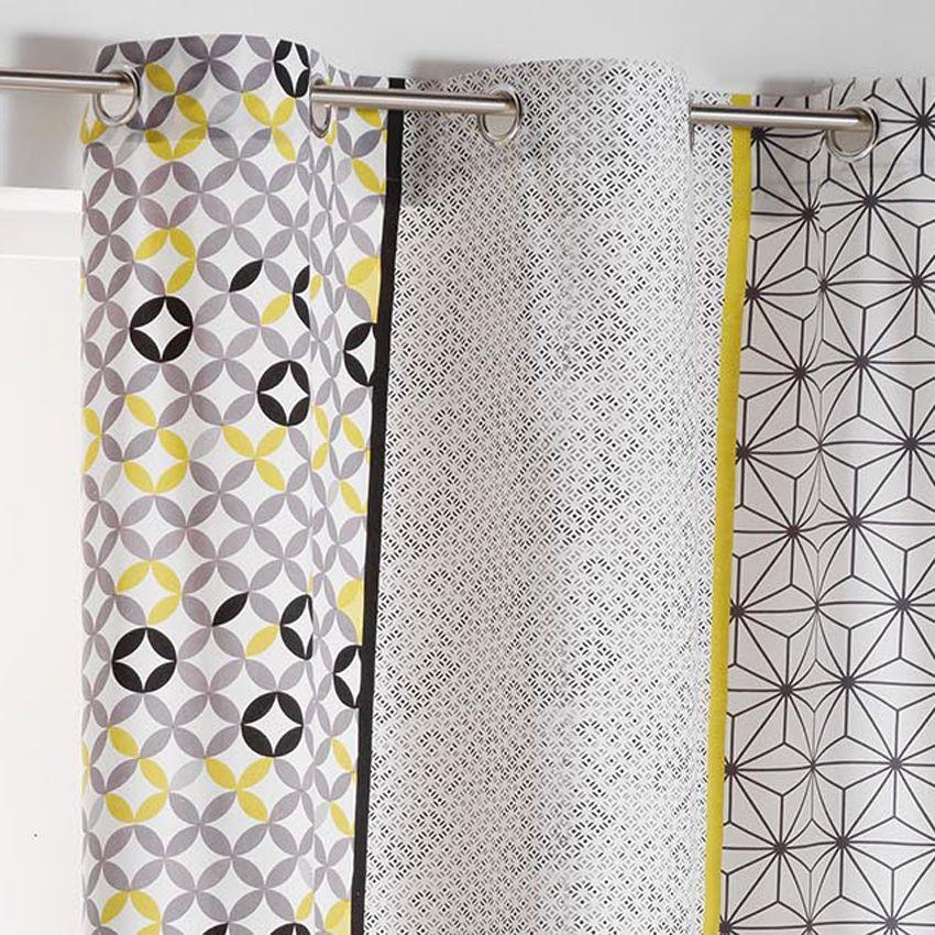 rideau tamisant 140 x 240 cm remix gris et jaune. Black Bedroom Furniture Sets. Home Design Ideas
