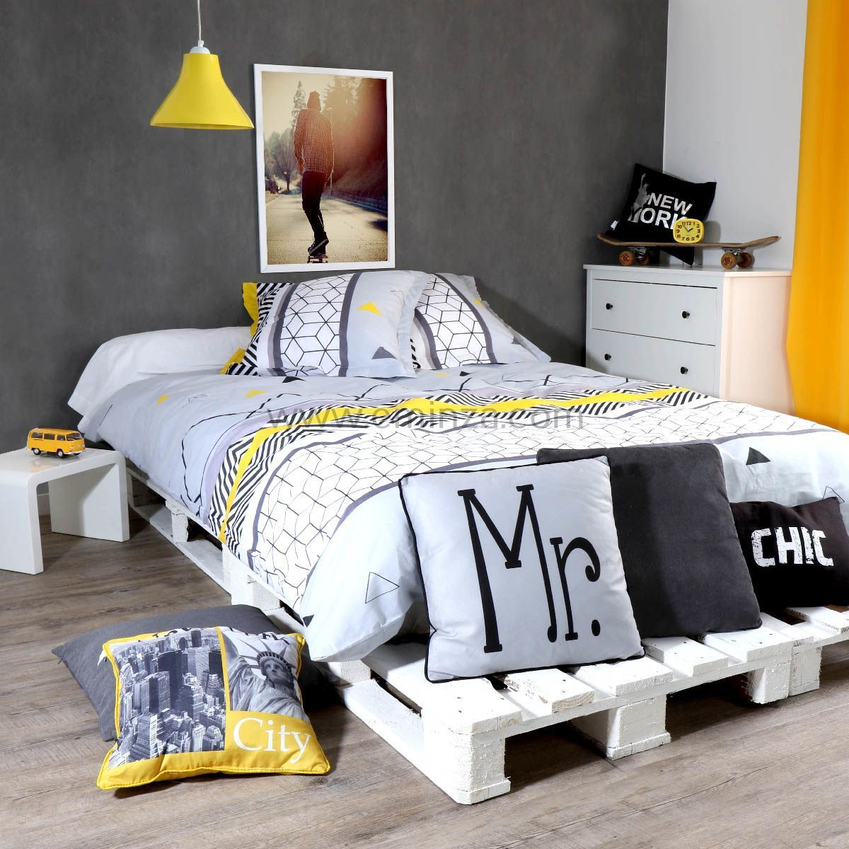 housse de couette et deux taies 240 cm yellow mix housse de couette eminza. Black Bedroom Furniture Sets. Home Design Ideas