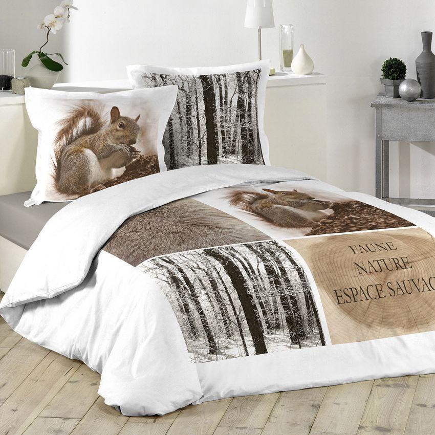 housse de couette et deux taies 260 cm ecureuil housse de couette eminza. Black Bedroom Furniture Sets. Home Design Ideas