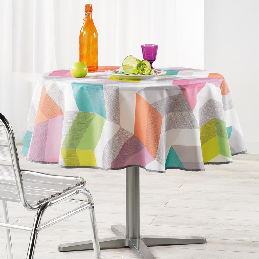 nappe ronde d180 cm ultragraphic pastel nappe de table. Black Bedroom Furniture Sets. Home Design Ideas