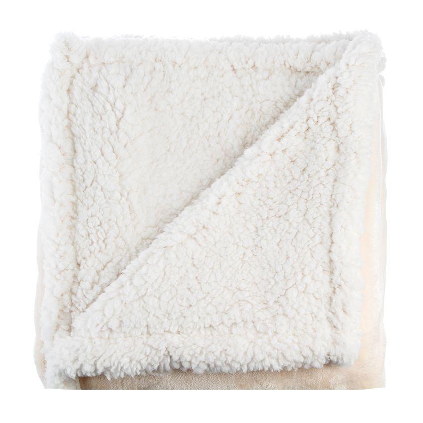 plaid doux 150 cm sherpa ivoire plaid cocooning eminza. Black Bedroom Furniture Sets. Home Design Ideas