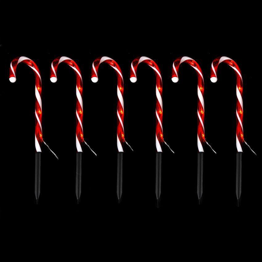 Lot de 6 sucres d 39 orge lumineux rouge 30 led silhouette - Silhouette de noel exterieur ...
