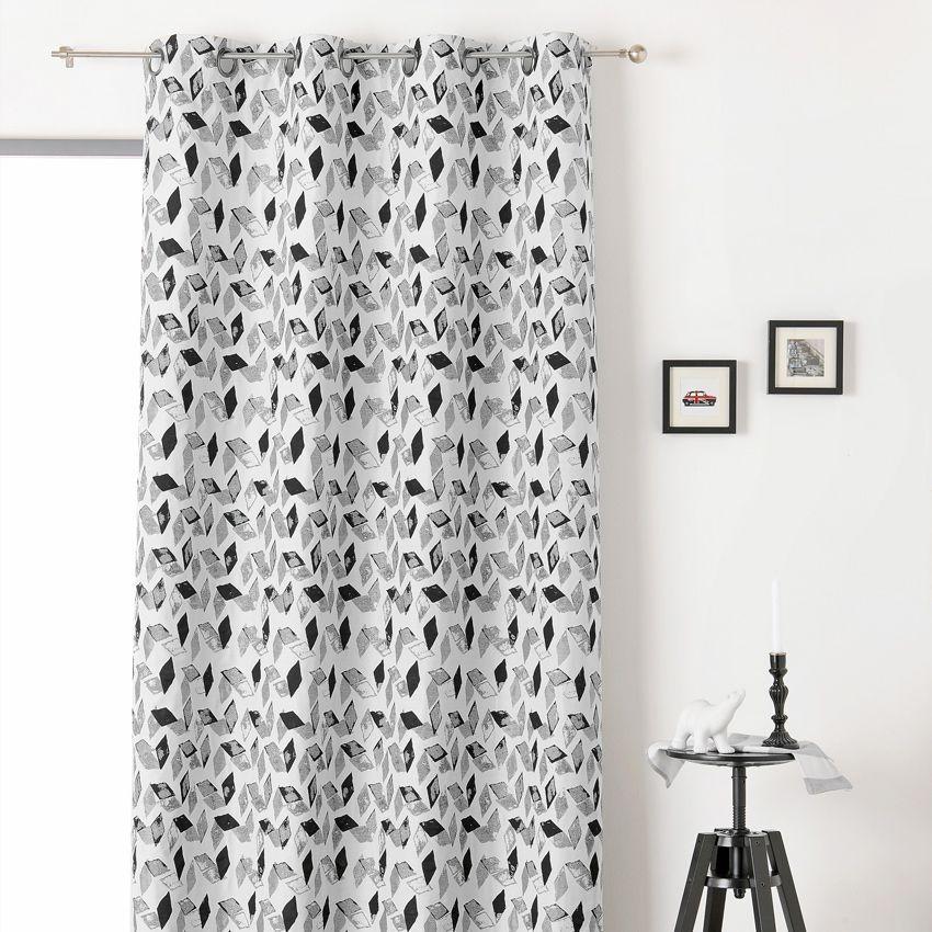 rideau tamisant 135 x 240 cm kal o noir et blanc. Black Bedroom Furniture Sets. Home Design Ideas