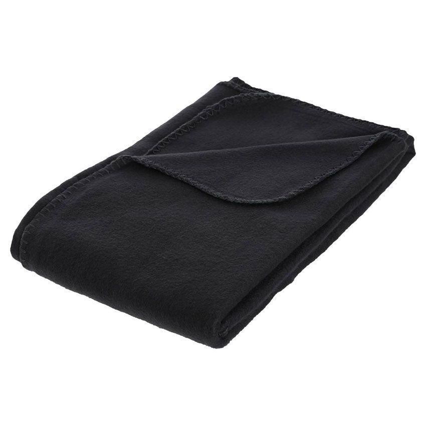 plaid polaire 150 cm douillet noir plaid cocooning eminza. Black Bedroom Furniture Sets. Home Design Ideas