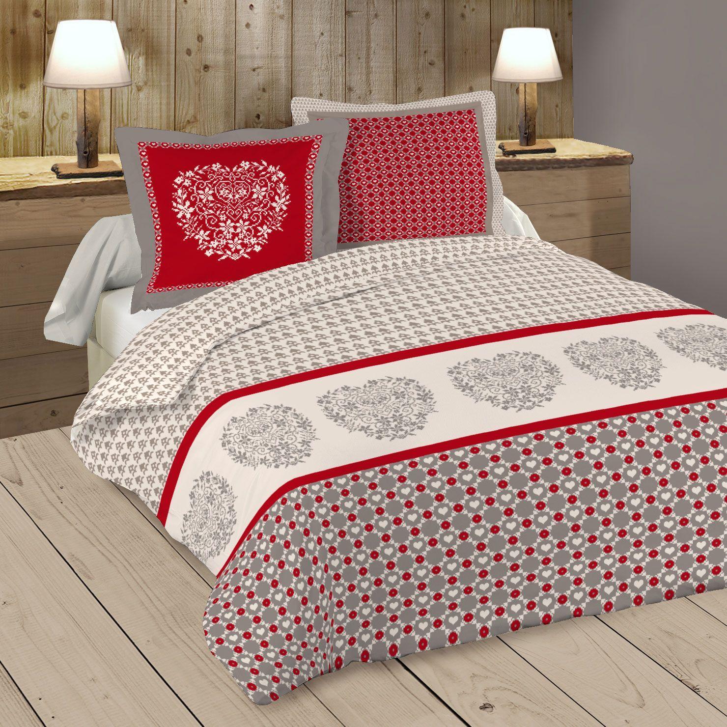 housse de couette et deux taies darla coton 240 cm rouge housse de couette eminza. Black Bedroom Furniture Sets. Home Design Ideas
