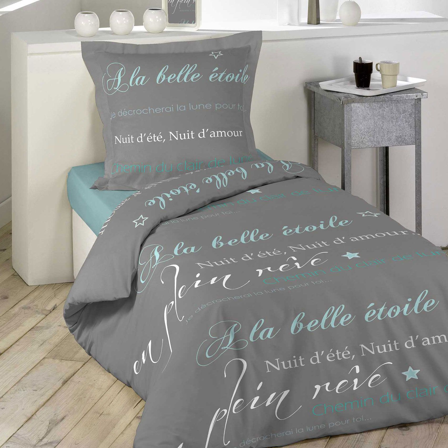 housse de couette et taie belle etoile 100 coton 140 cm gris housse de couette eminza. Black Bedroom Furniture Sets. Home Design Ideas
