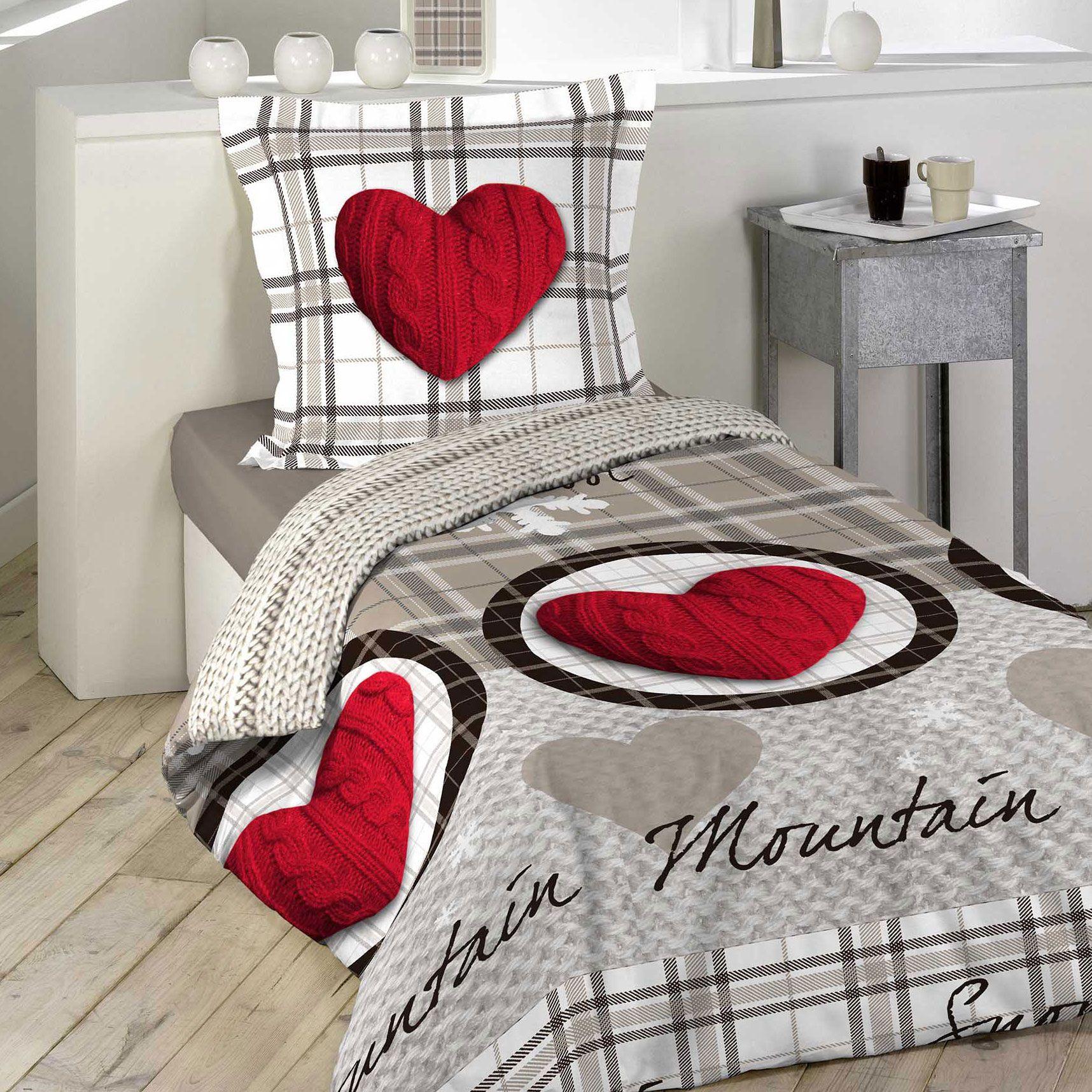 housse de couette et taie montagne 100 coton 140 cm rouge housse de couette eminza. Black Bedroom Furniture Sets. Home Design Ideas
