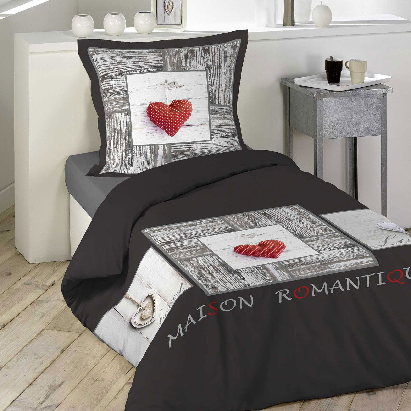 housse de couette et taie coeur romantique 100 coton 140 cm gris anthracite housse de. Black Bedroom Furniture Sets. Home Design Ideas