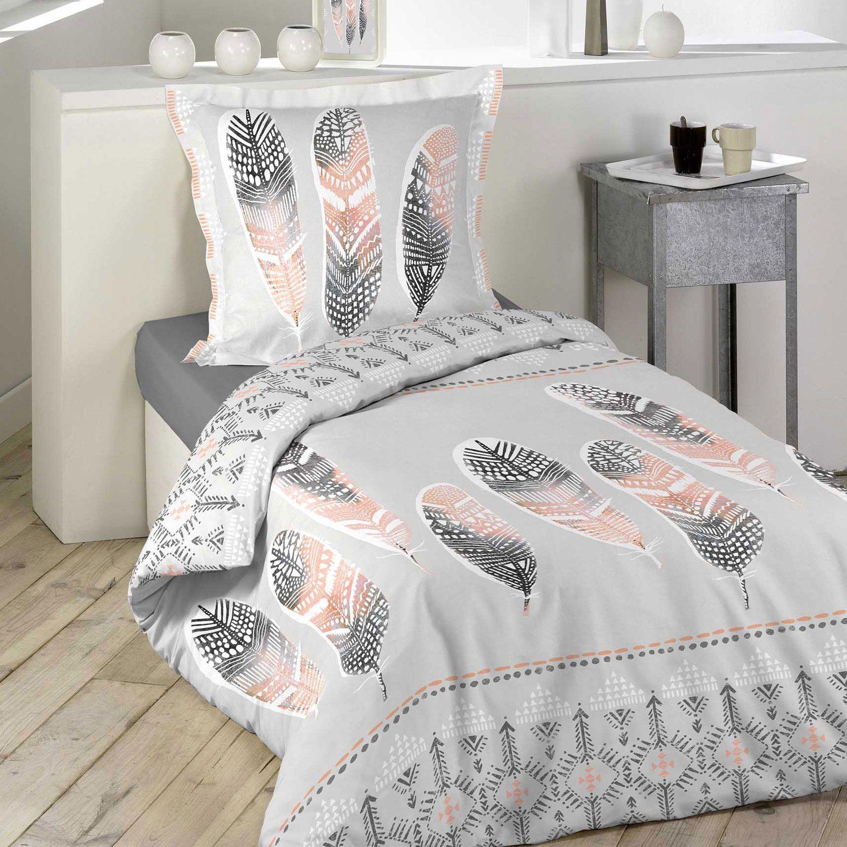 housse de couette et taie plume ethnique 100 coton 140 cm gris clair housse de couette eminza. Black Bedroom Furniture Sets. Home Design Ideas
