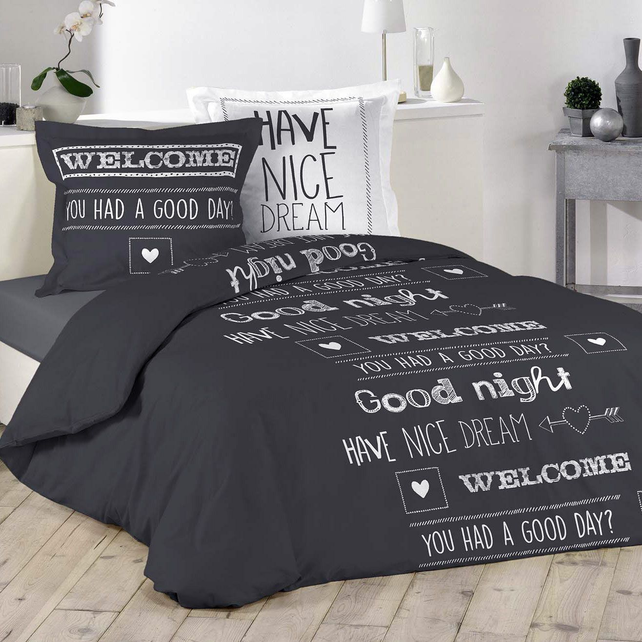 housse de couette et deux taies nice dream 100 coton 200 cm gris anthracite housse de. Black Bedroom Furniture Sets. Home Design Ideas