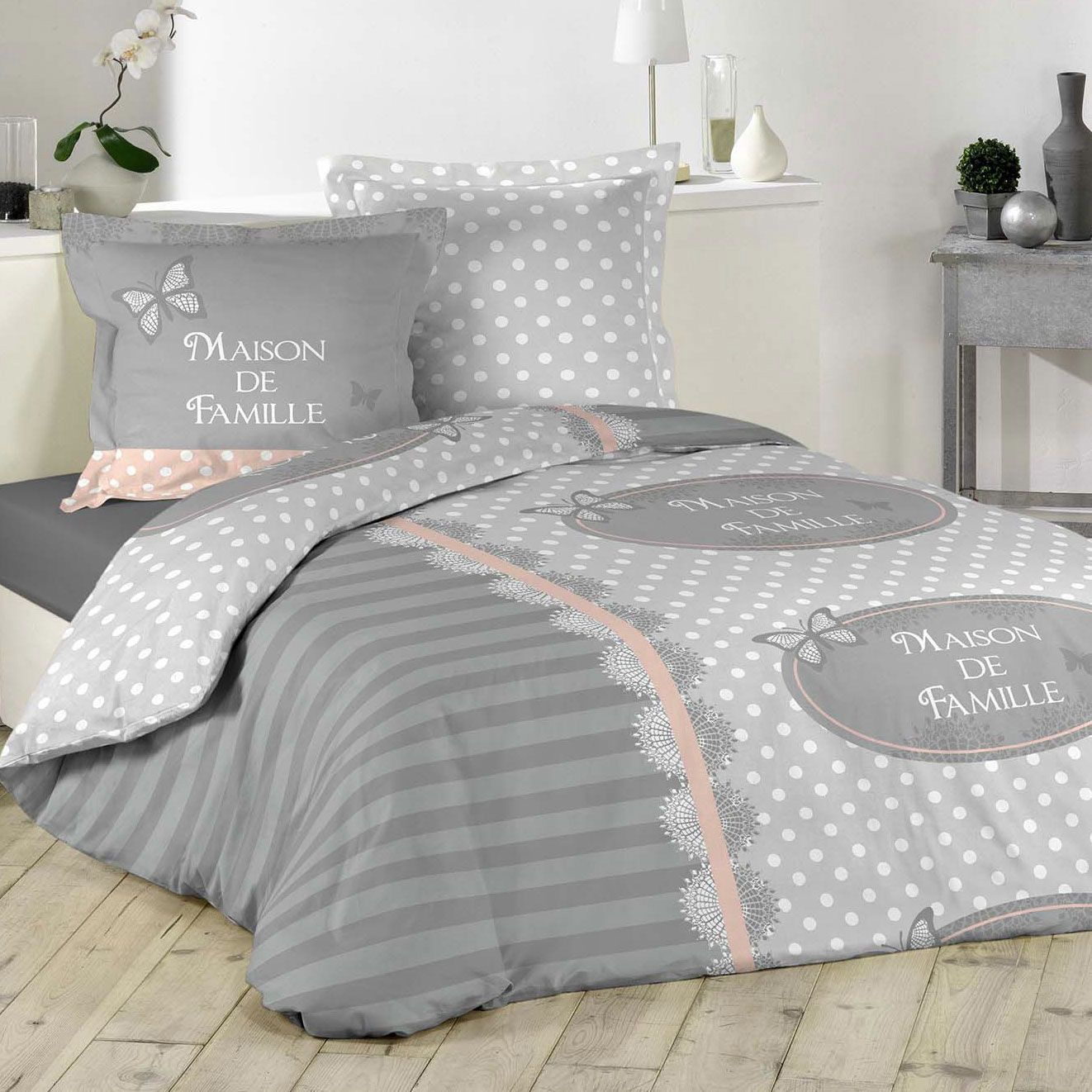 housse de couette et deux taies lili coton 240 cm gris. Black Bedroom Furniture Sets. Home Design Ideas