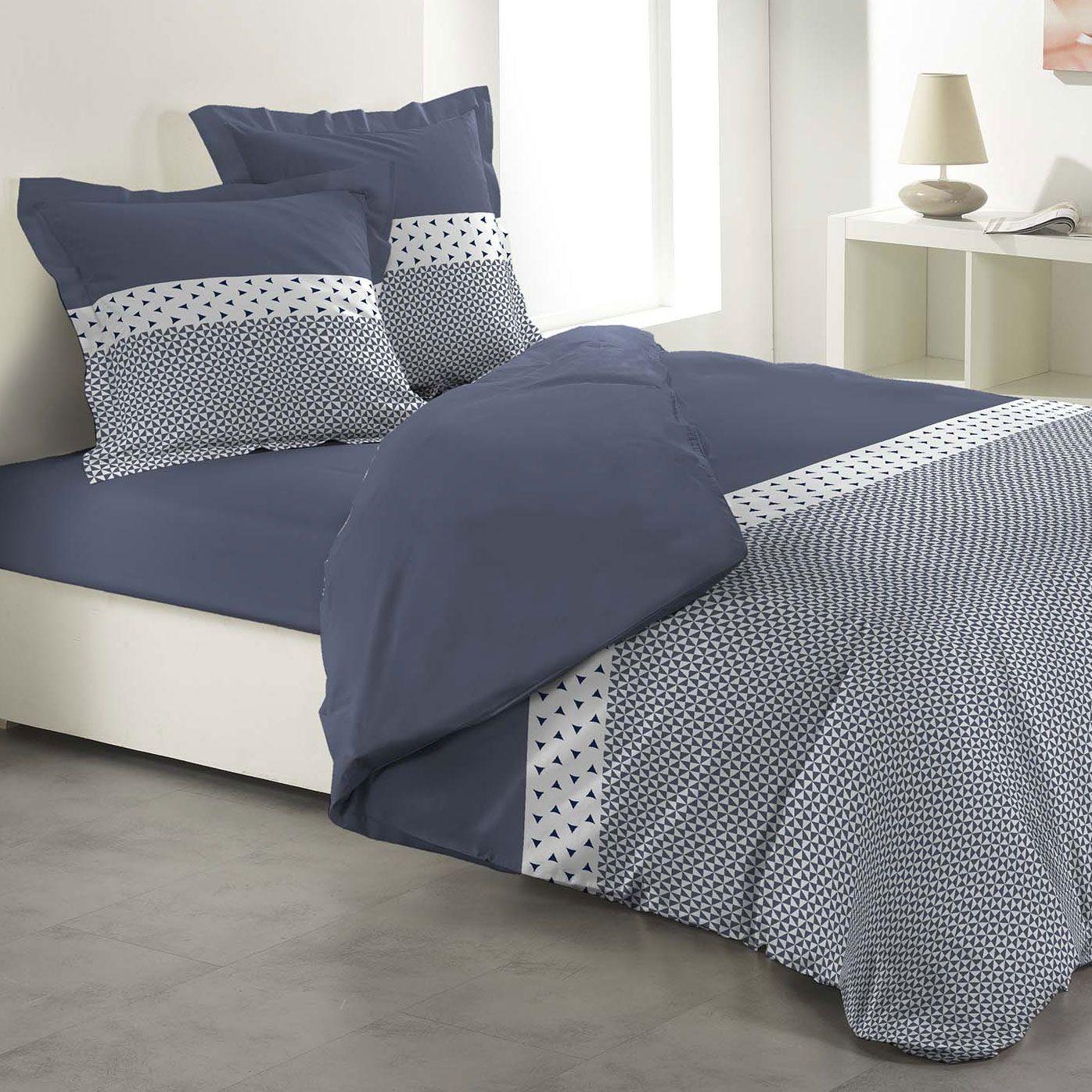 housse de couette et deux taies agatha 100 coton 240 cm bleu orage housse de couette eminza. Black Bedroom Furniture Sets. Home Design Ideas