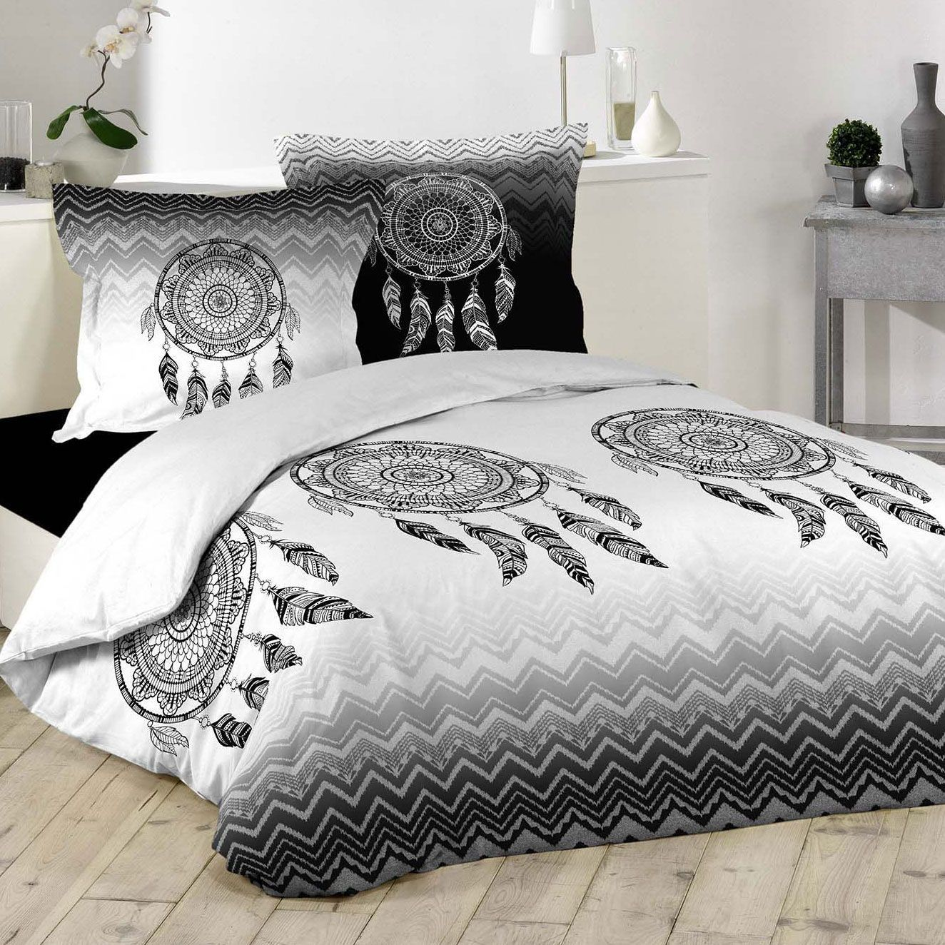 housse de couette et deux taies attrape r ves 100 coton 260 cm gris housse de couette eminza. Black Bedroom Furniture Sets. Home Design Ideas