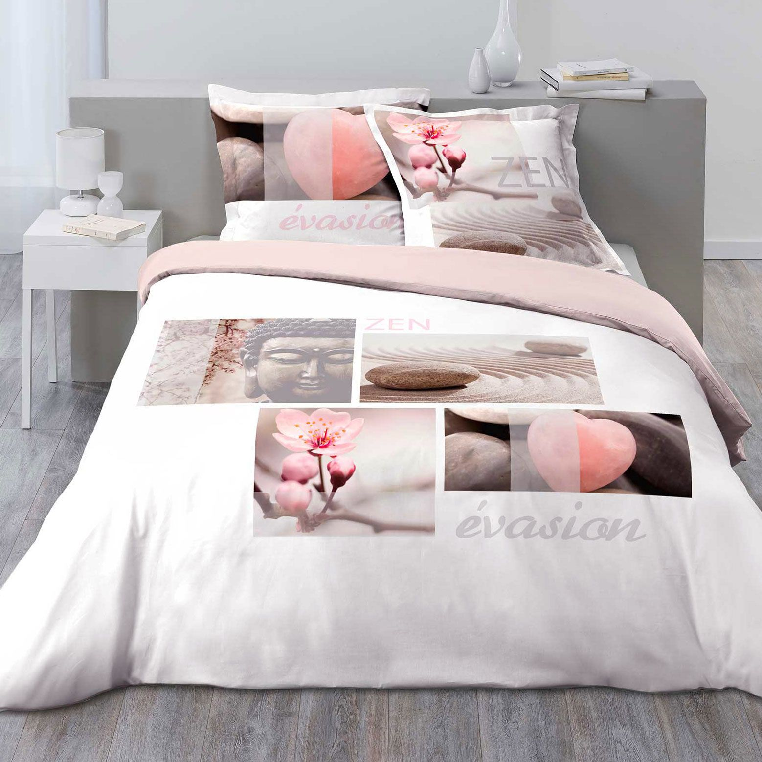 housse de couette et deux taies evasion zen 100 coton 240 cm rose p le housse de couette. Black Bedroom Furniture Sets. Home Design Ideas