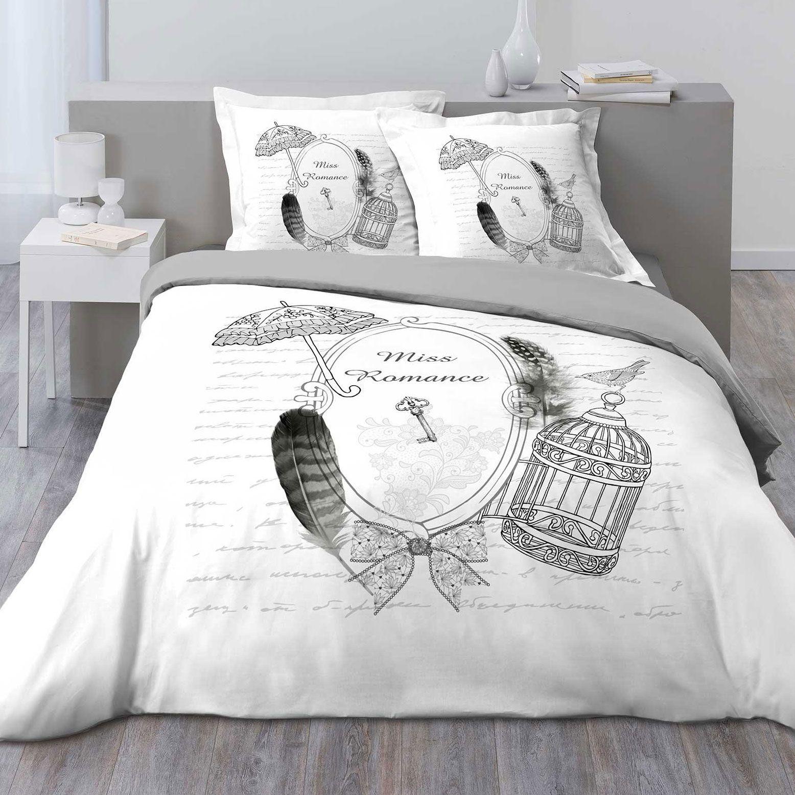 housse de couette et deux taies mistinguette 100 coton. Black Bedroom Furniture Sets. Home Design Ideas