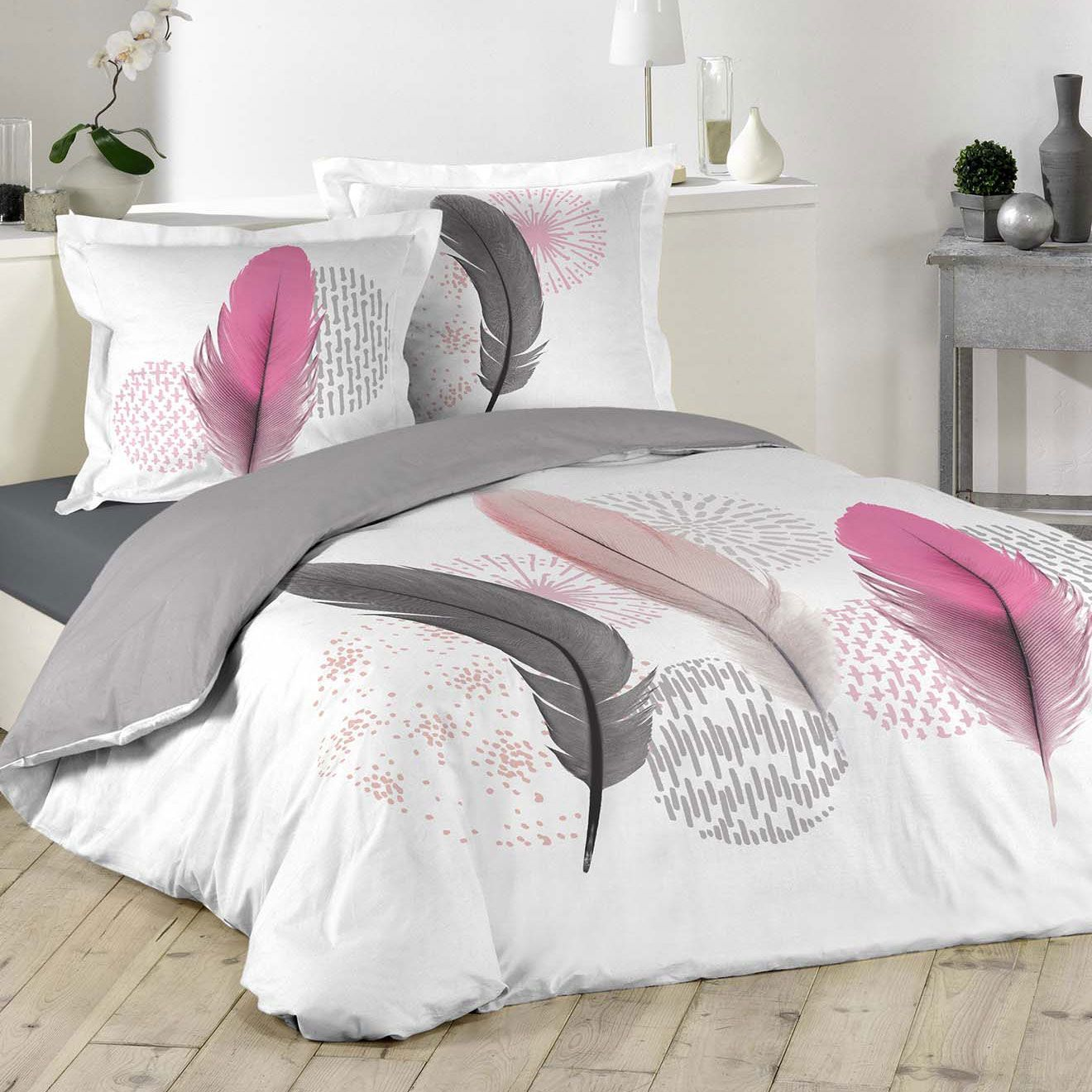 housse de couette et deux taies pink dream 100 coton 240. Black Bedroom Furniture Sets. Home Design Ideas