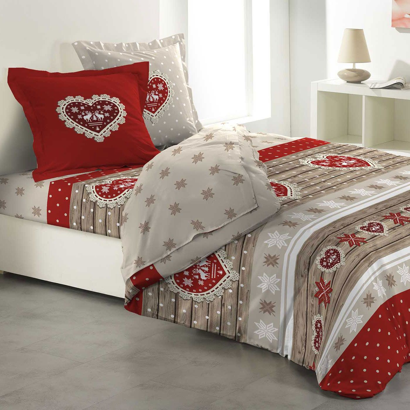 parure de draps 4 pi ces 100 flanelle c ur rouge parure. Black Bedroom Furniture Sets. Home Design Ideas