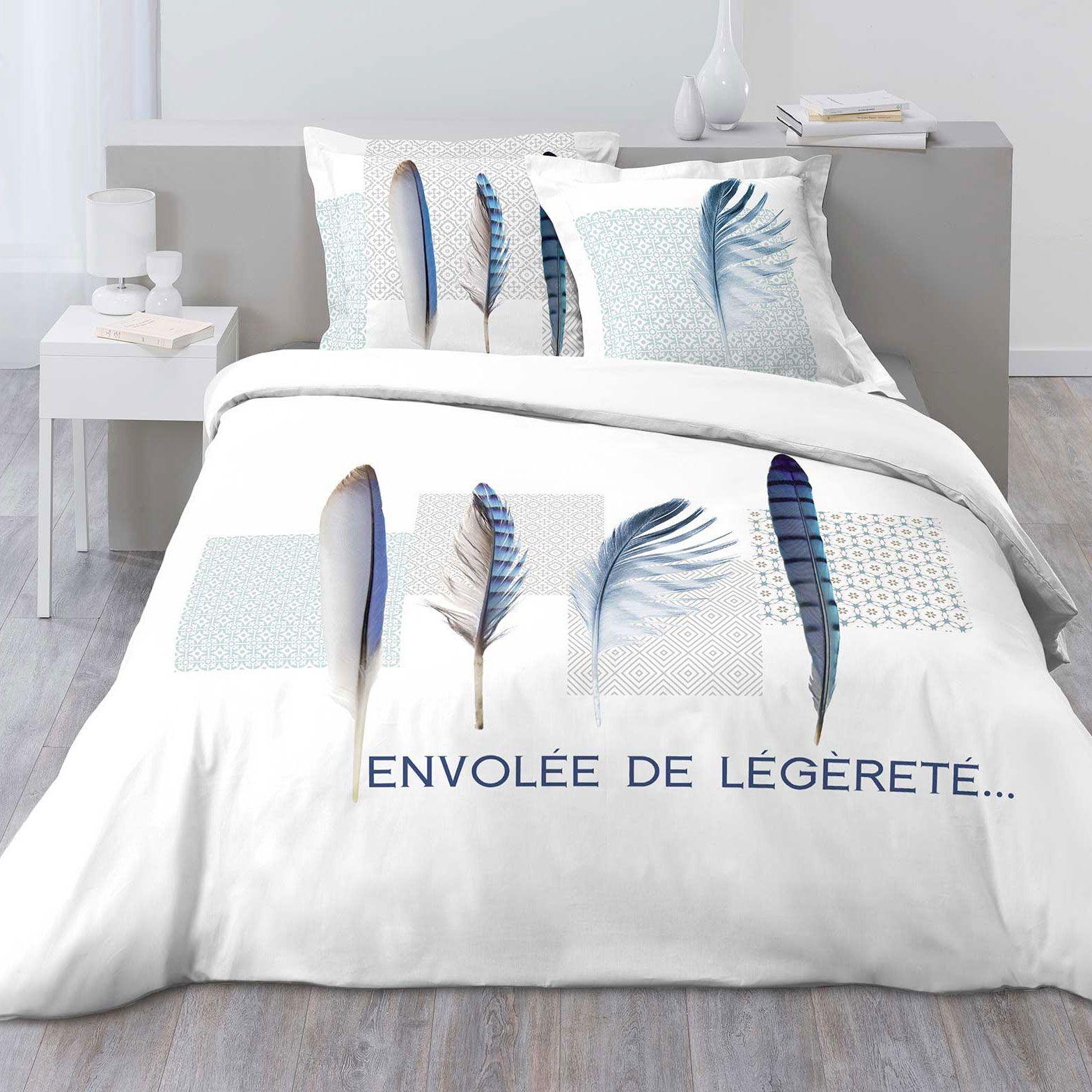 Housse de couette et deux taies blue plume 100 coton 260 for Housse de couette france