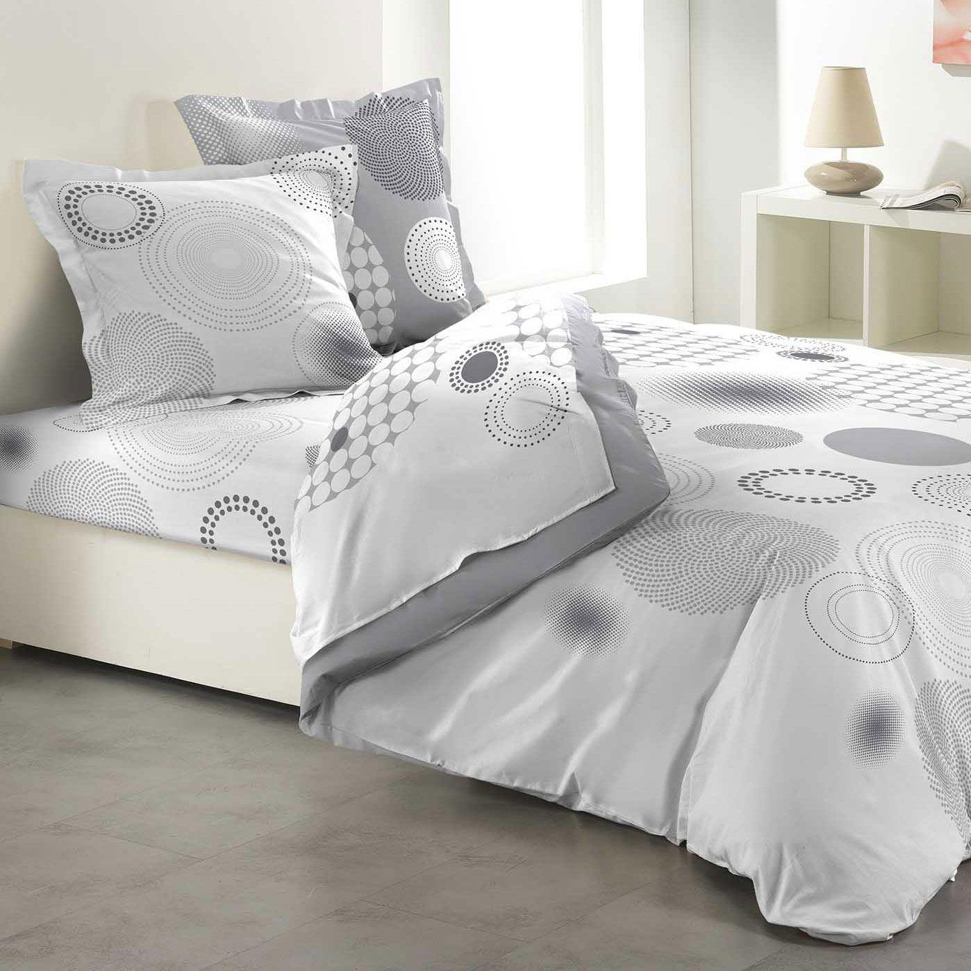parure de draps 4 pi ces bulleo gris clair parure de draps eminza. Black Bedroom Furniture Sets. Home Design Ideas