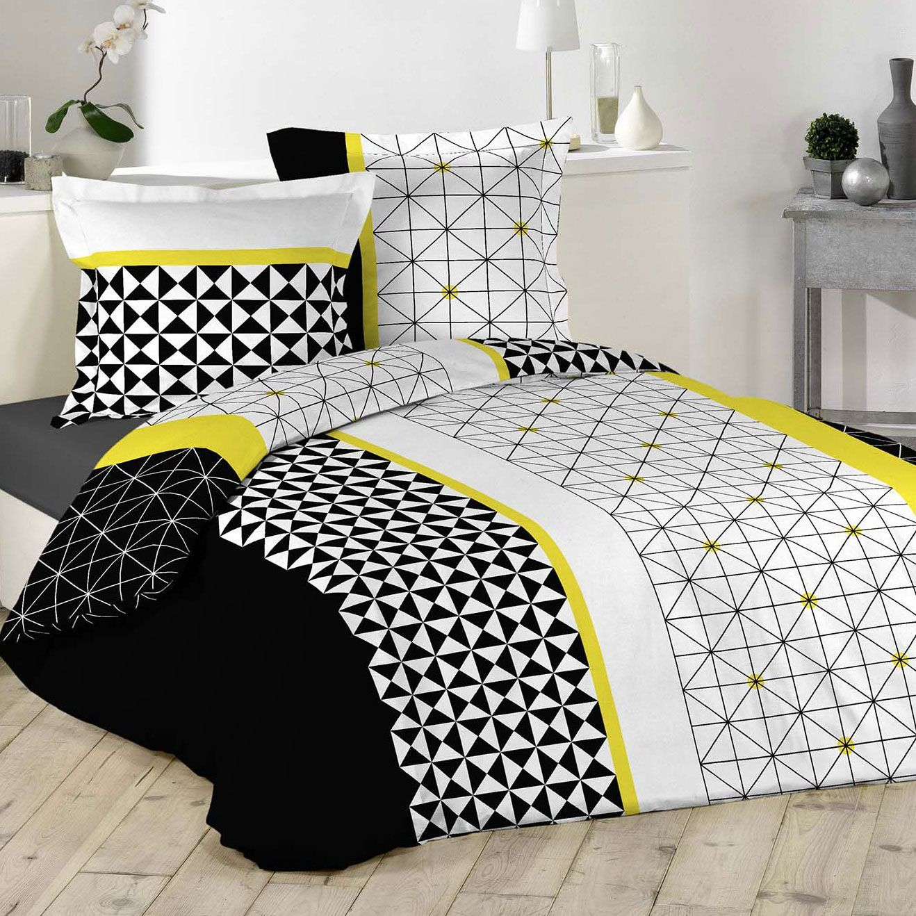 housse de couette jaune et blanc au99 jornalagora. Black Bedroom Furniture Sets. Home Design Ideas
