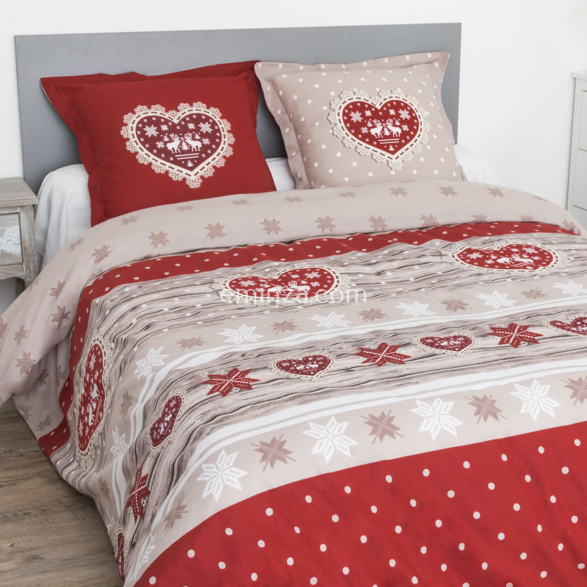 housse de couette et deux taies flanelle de coton 260 cm coeur rouge housse de couette eminza. Black Bedroom Furniture Sets. Home Design Ideas