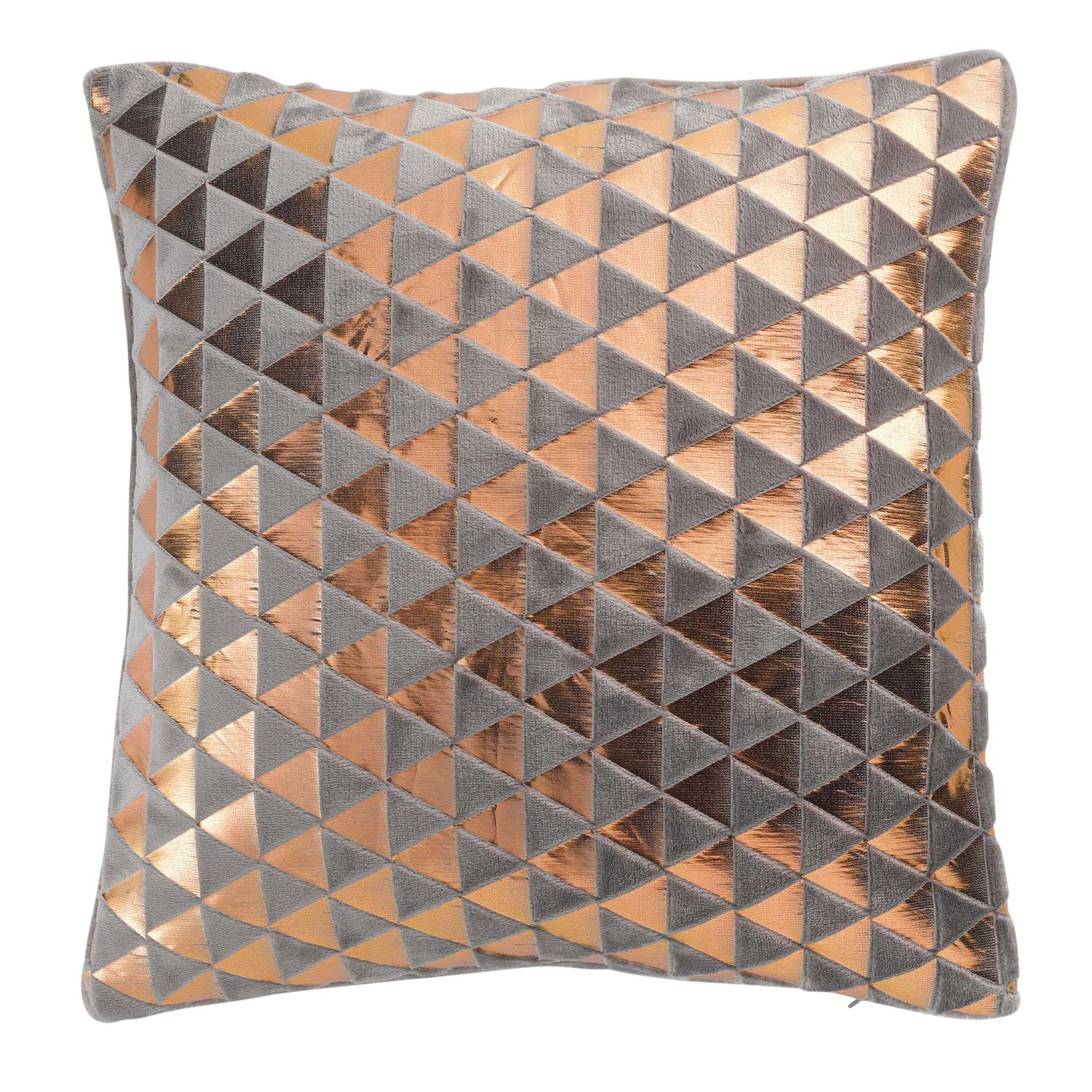 housse de coussin 40 cm flanelle sandro gris antharcite cuivre coussin et galette eminza. Black Bedroom Furniture Sets. Home Design Ideas