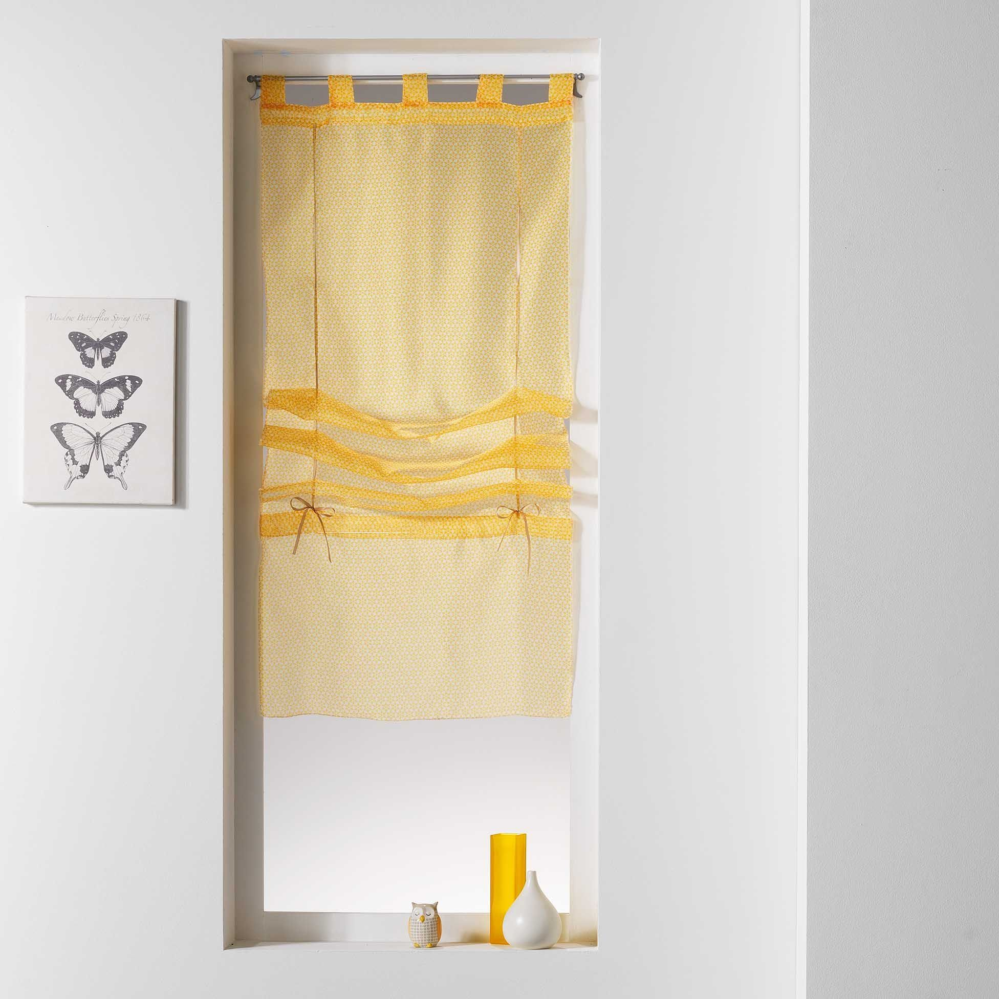 store voilage droit 45 x 180 cm galactic jaune voilage eminza. Black Bedroom Furniture Sets. Home Design Ideas