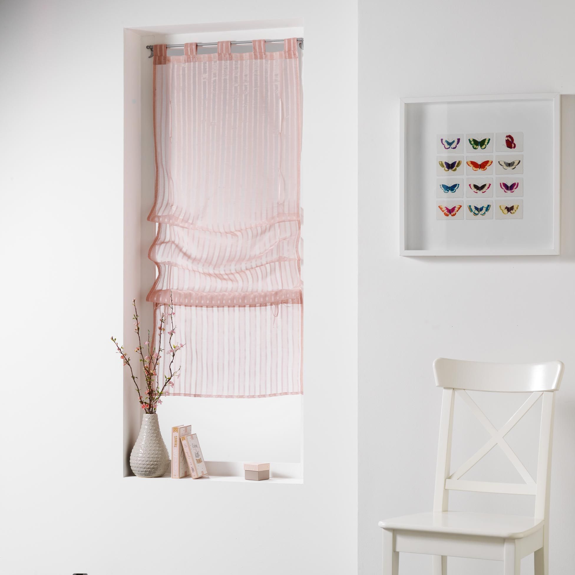 store voilage droit 45 cm lignati rose saumon voilage eminza. Black Bedroom Furniture Sets. Home Design Ideas