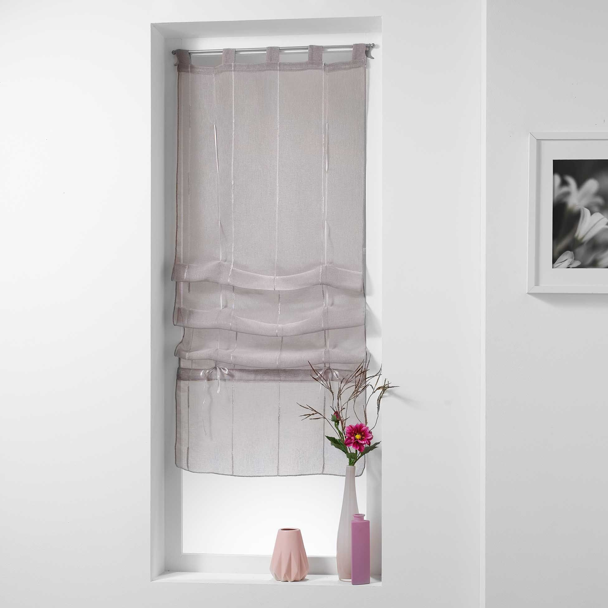 store voilage droit 45 cm linahe taupe voilage eminza. Black Bedroom Furniture Sets. Home Design Ideas