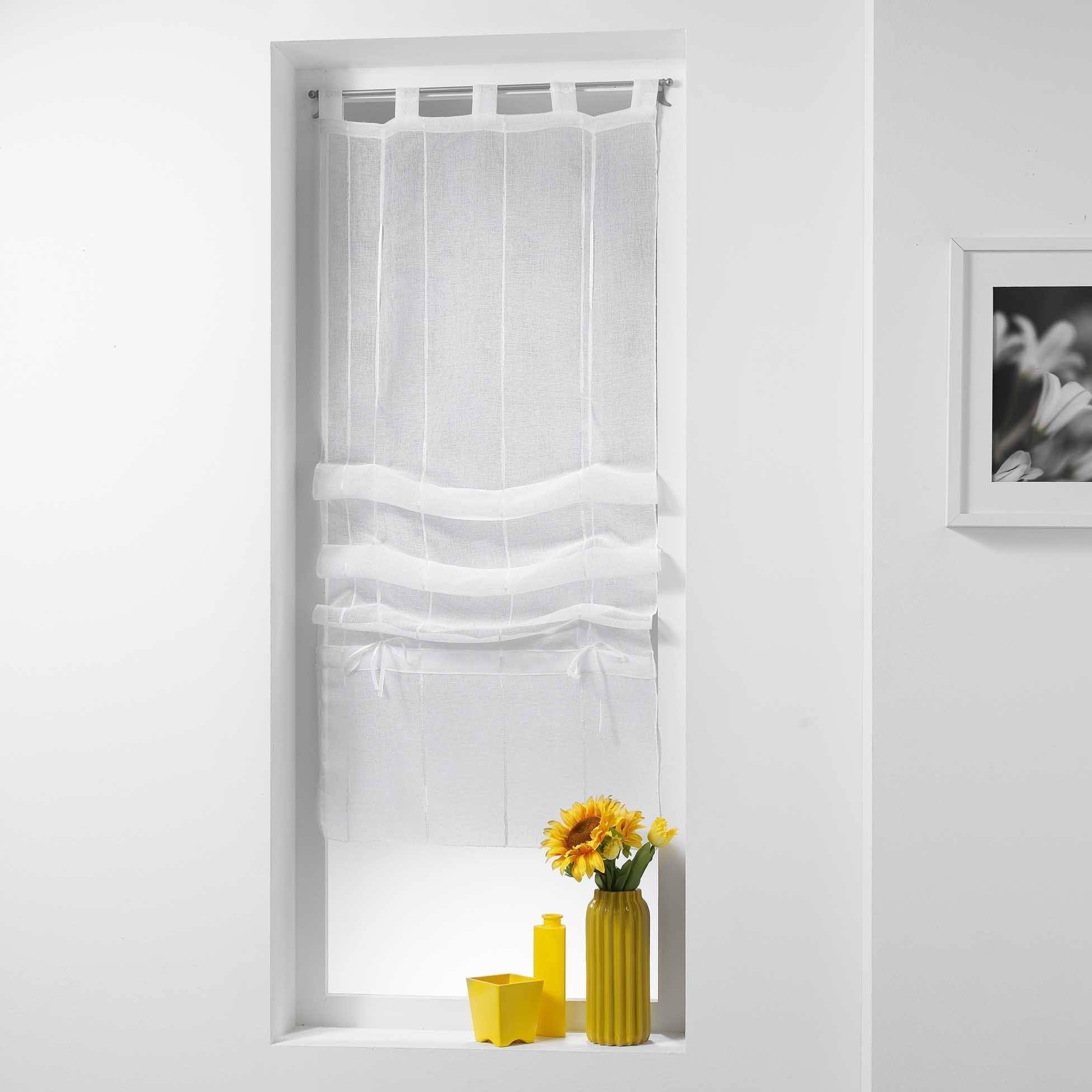 store voilage droit 60 x 180 cm linahe blanc voilage eminza. Black Bedroom Furniture Sets. Home Design Ideas