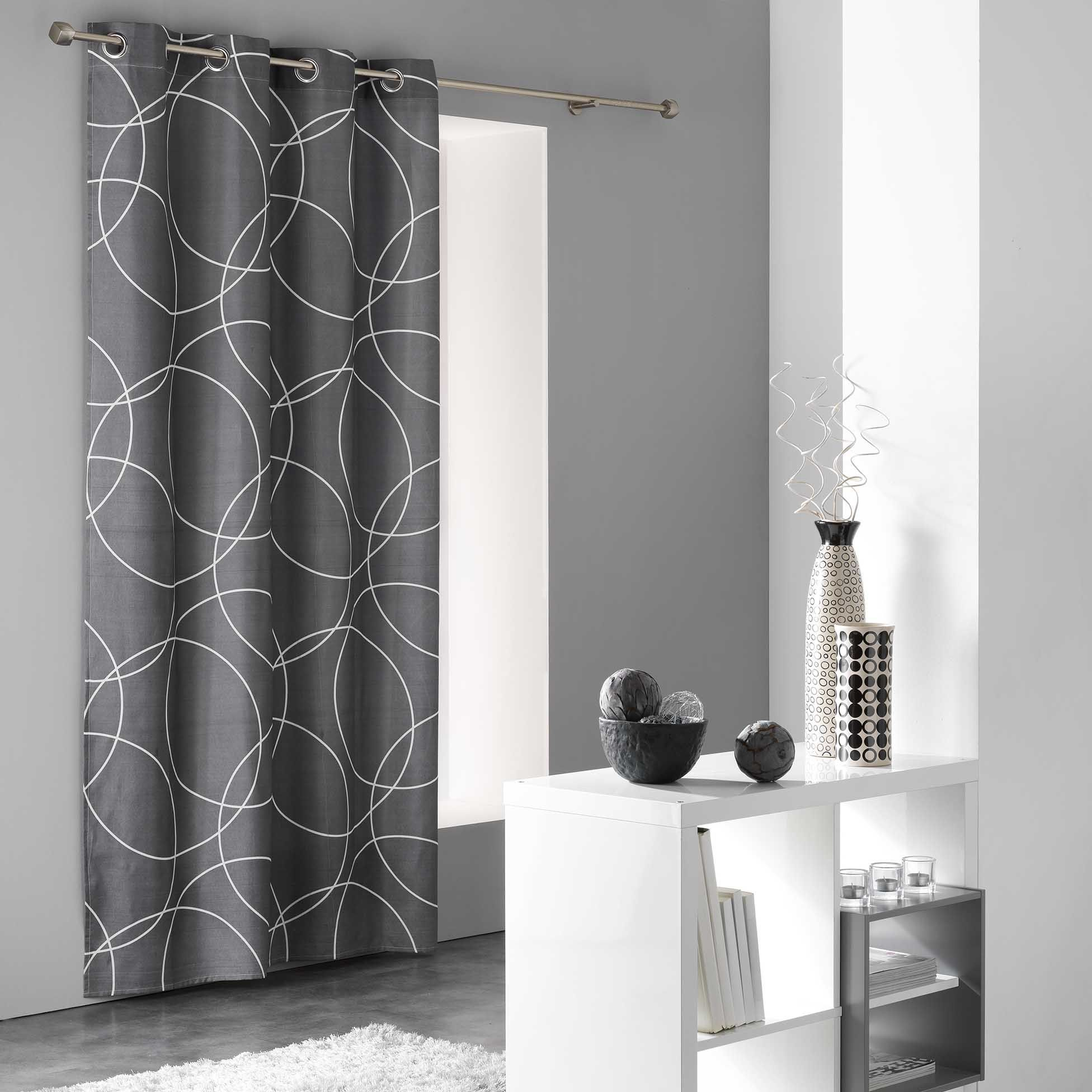 rideau tamisant 140 x 240 cm elton gris rideau tamisant eminza. Black Bedroom Furniture Sets. Home Design Ideas