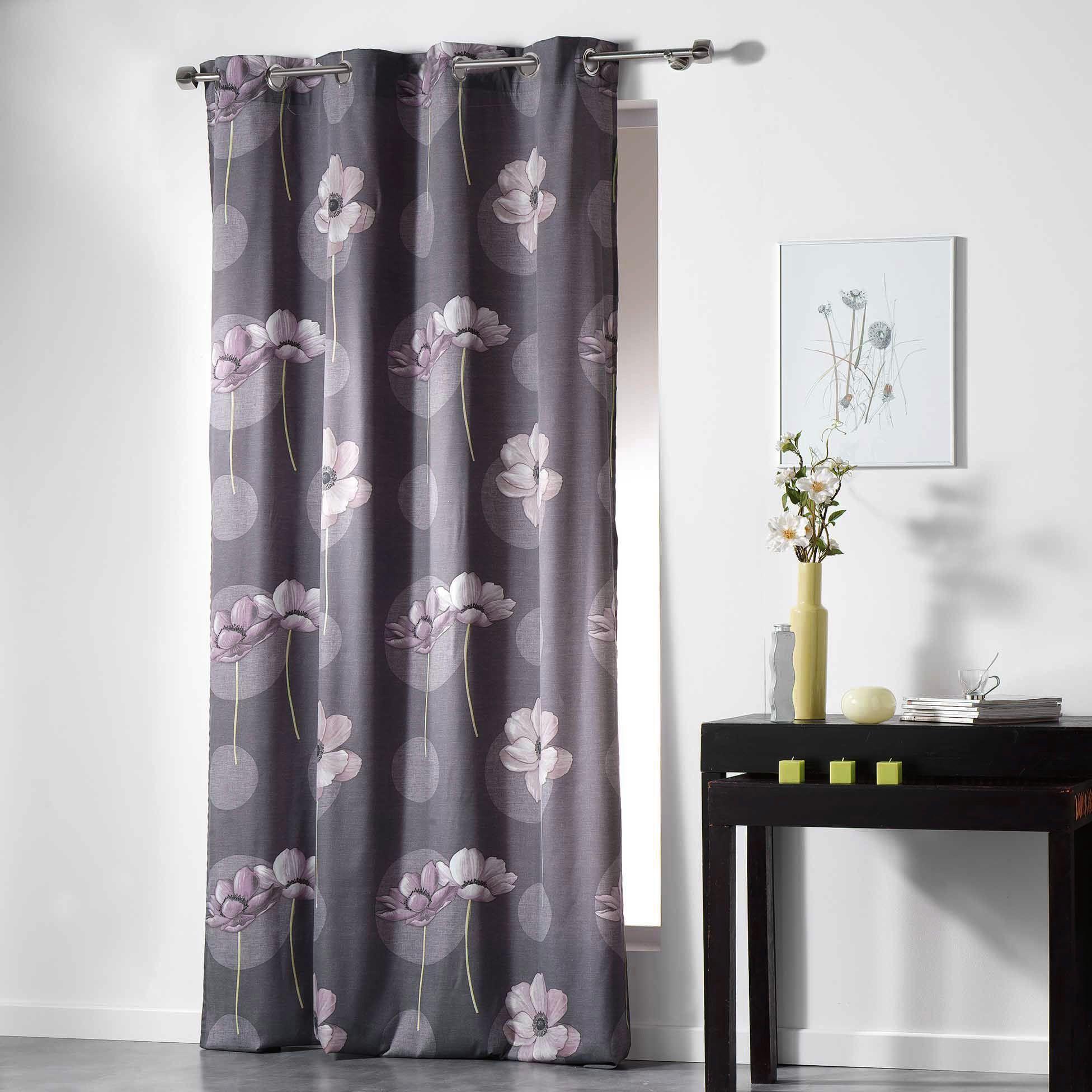 rideaux gris et violet finest amazing rideau uni occultant et isolant doubl polaire gris. Black Bedroom Furniture Sets. Home Design Ideas