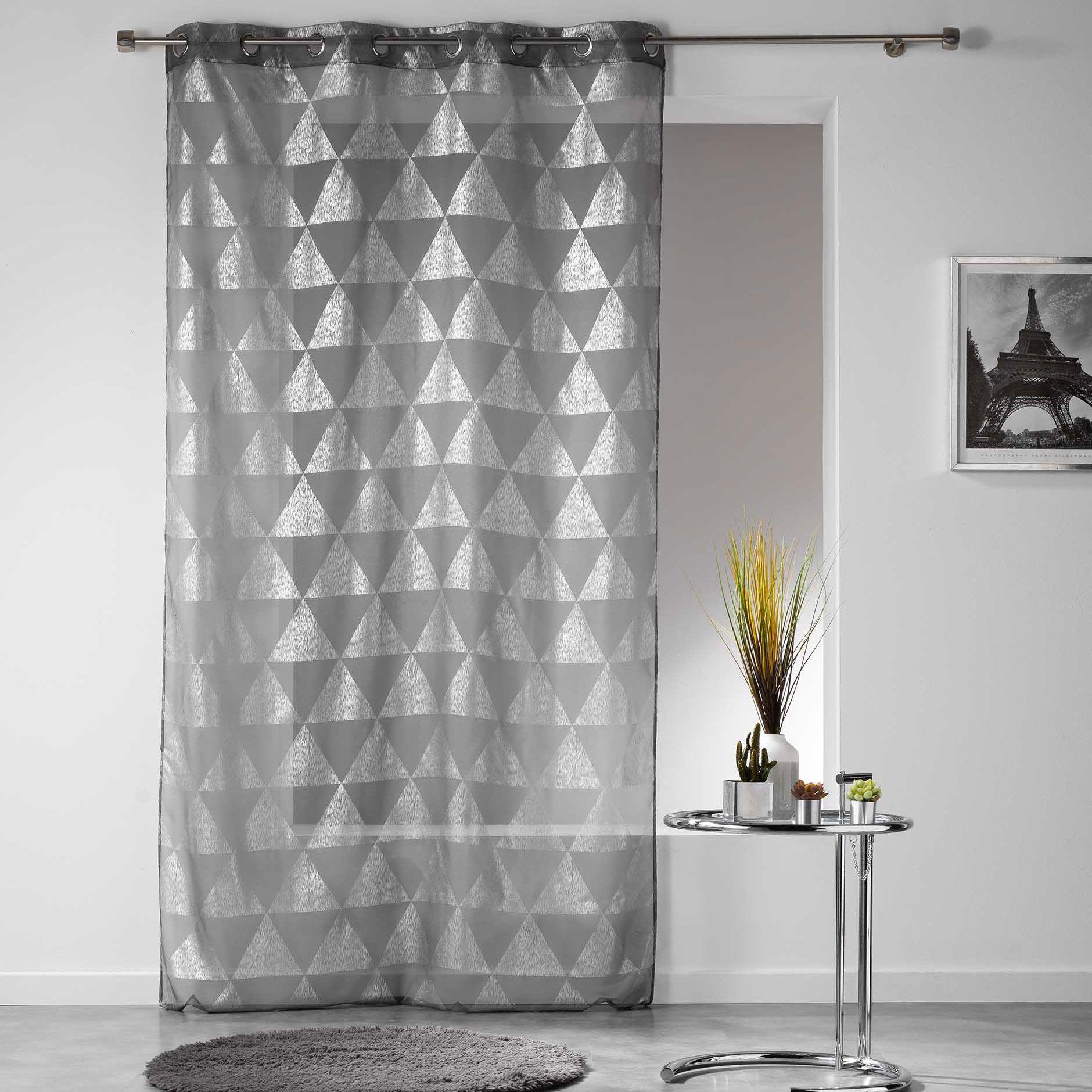 voilage 140 x 240 cm frosty gris anthracite voilage eminza. Black Bedroom Furniture Sets. Home Design Ideas