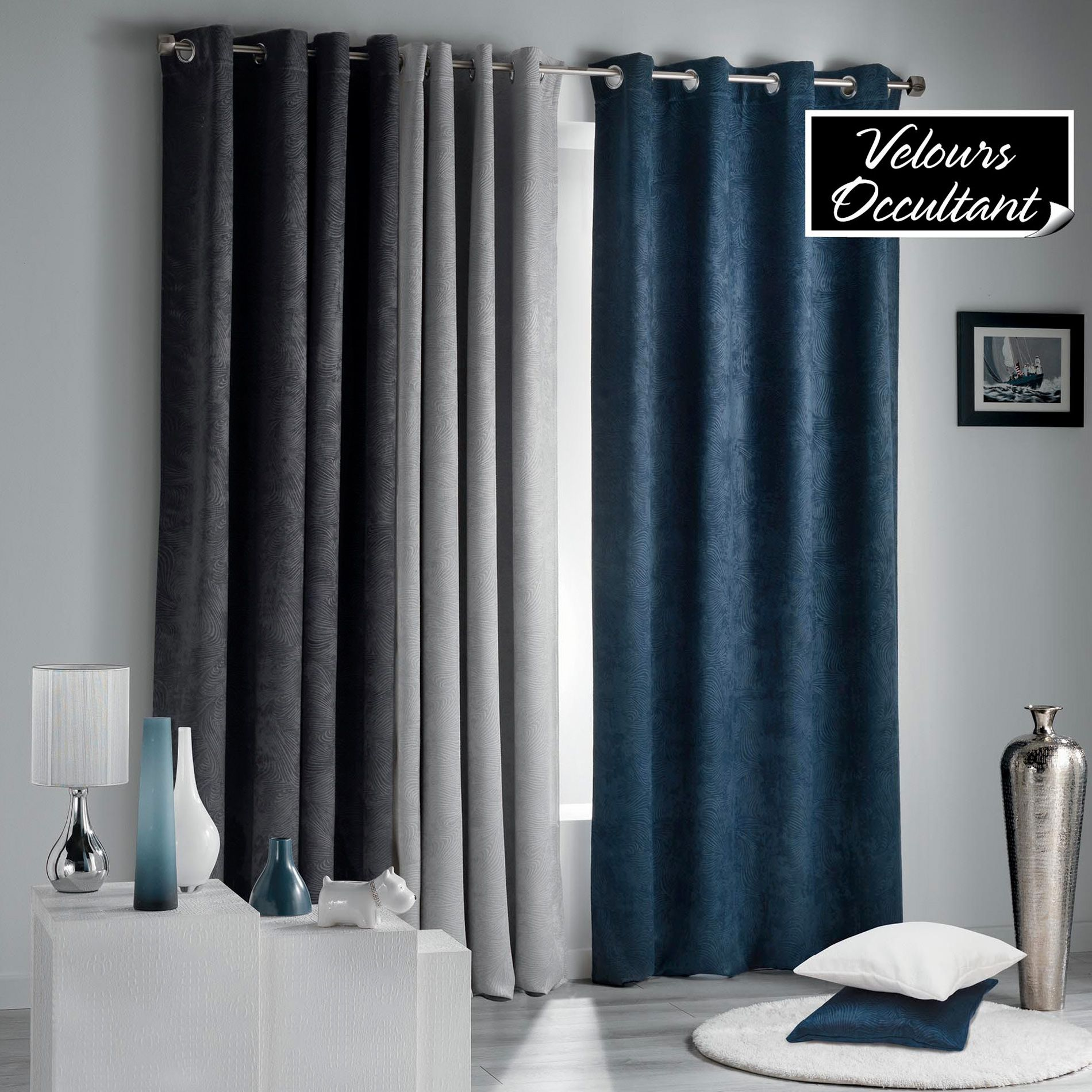 rideau occultant 140 x 240 cm dreamtime bleu indigo. Black Bedroom Furniture Sets. Home Design Ideas