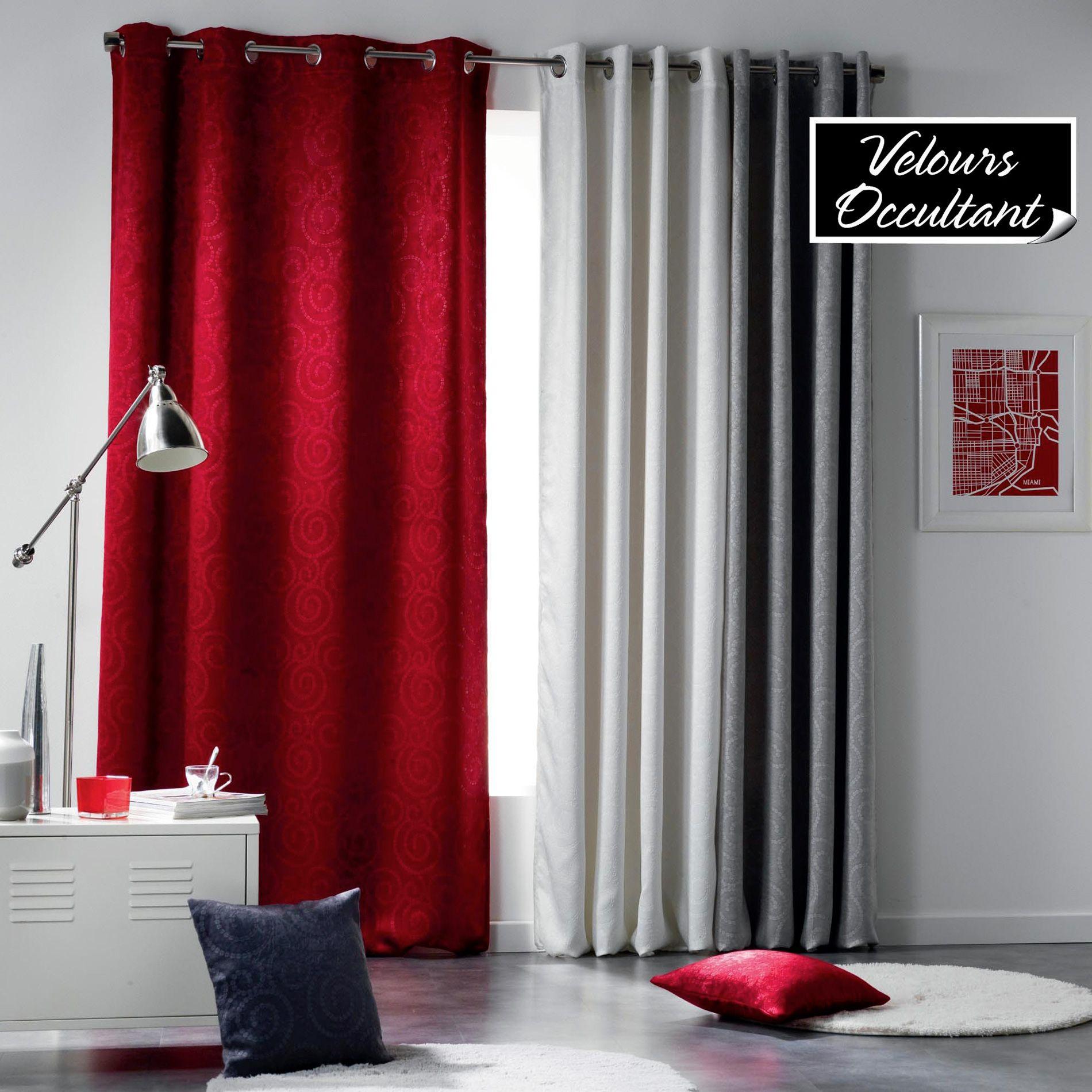Rideau occultant 140 x 240 cm velours noctua rouge rideau occultant eminza for Rideau maison