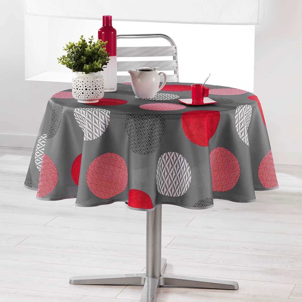 nappe ronde 180 cm odaly rouge nappe de table eminza. Black Bedroom Furniture Sets. Home Design Ideas