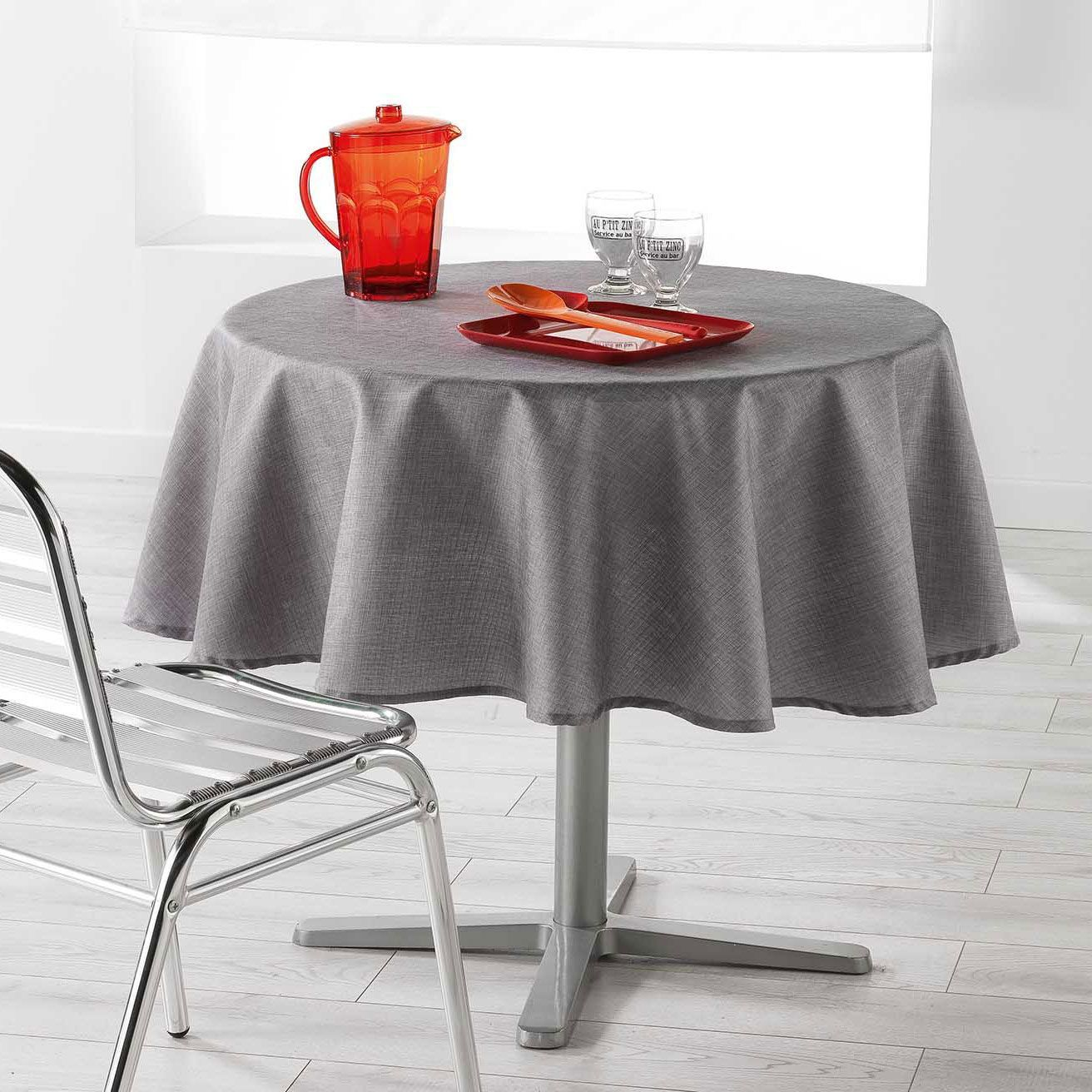 nappe ronde 180 cm enduite newton gris anthracite nappe de table eminza. Black Bedroom Furniture Sets. Home Design Ideas