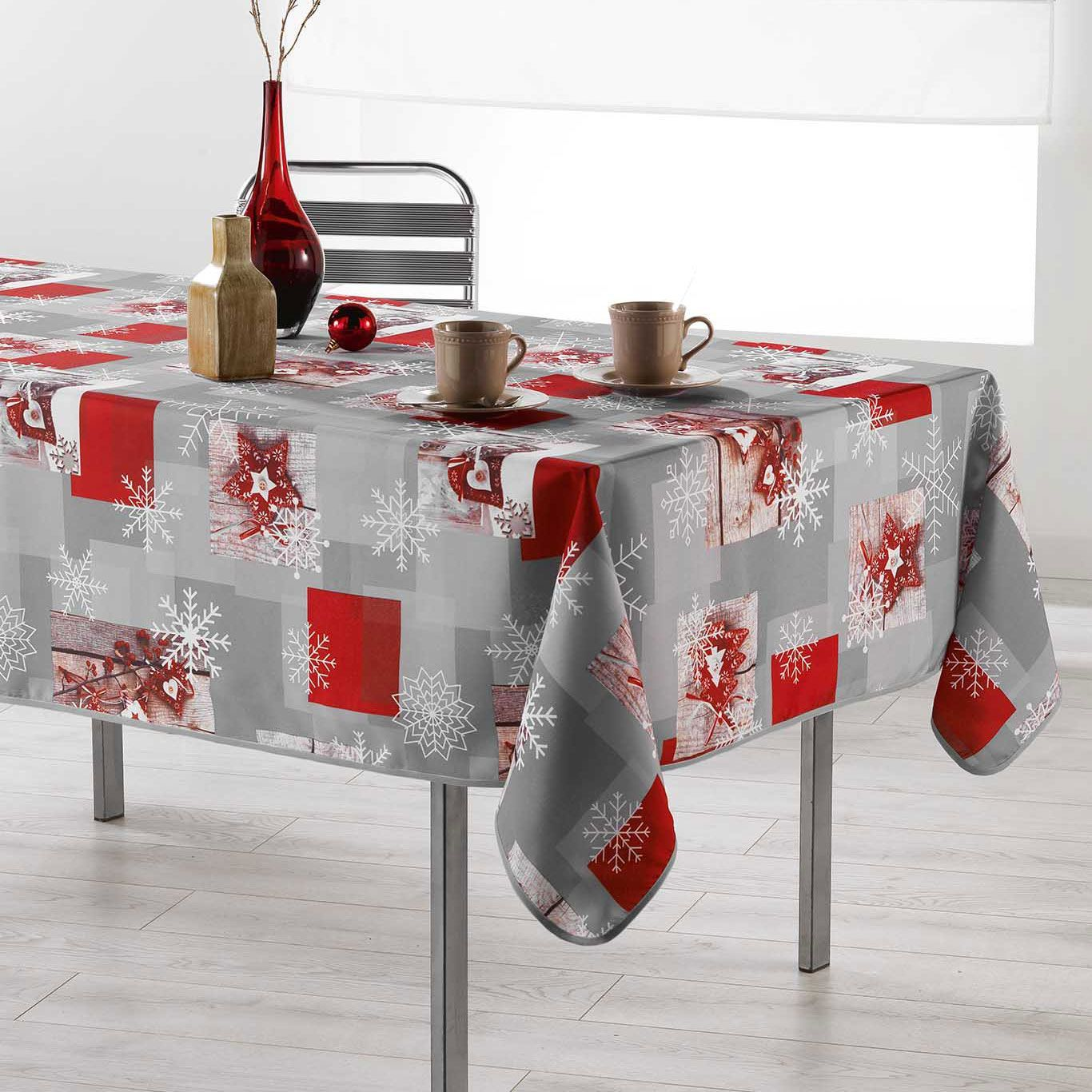 nappe rectangulaire l300 cm coldy rouge linge de table eminza. Black Bedroom Furniture Sets. Home Design Ideas
