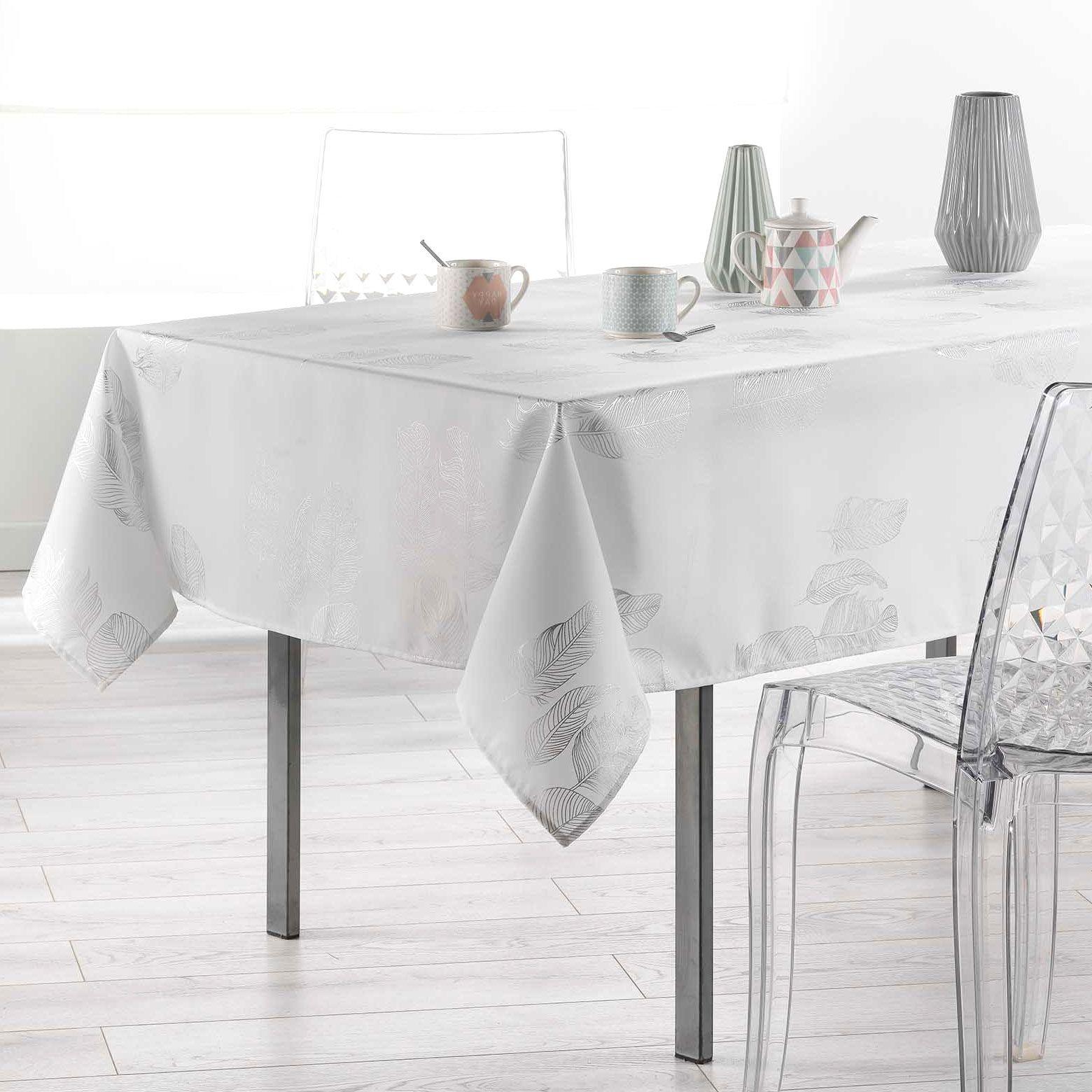nappe rectangulaire 240 cm plumia blanc nappe de table. Black Bedroom Furniture Sets. Home Design Ideas