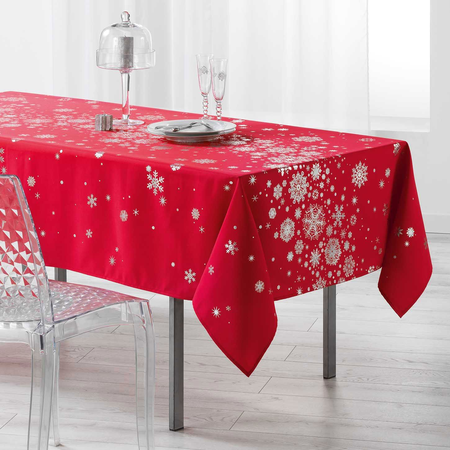 nappe rectangulaire 240 cm constellation rouge linge de table eminza. Black Bedroom Furniture Sets. Home Design Ideas