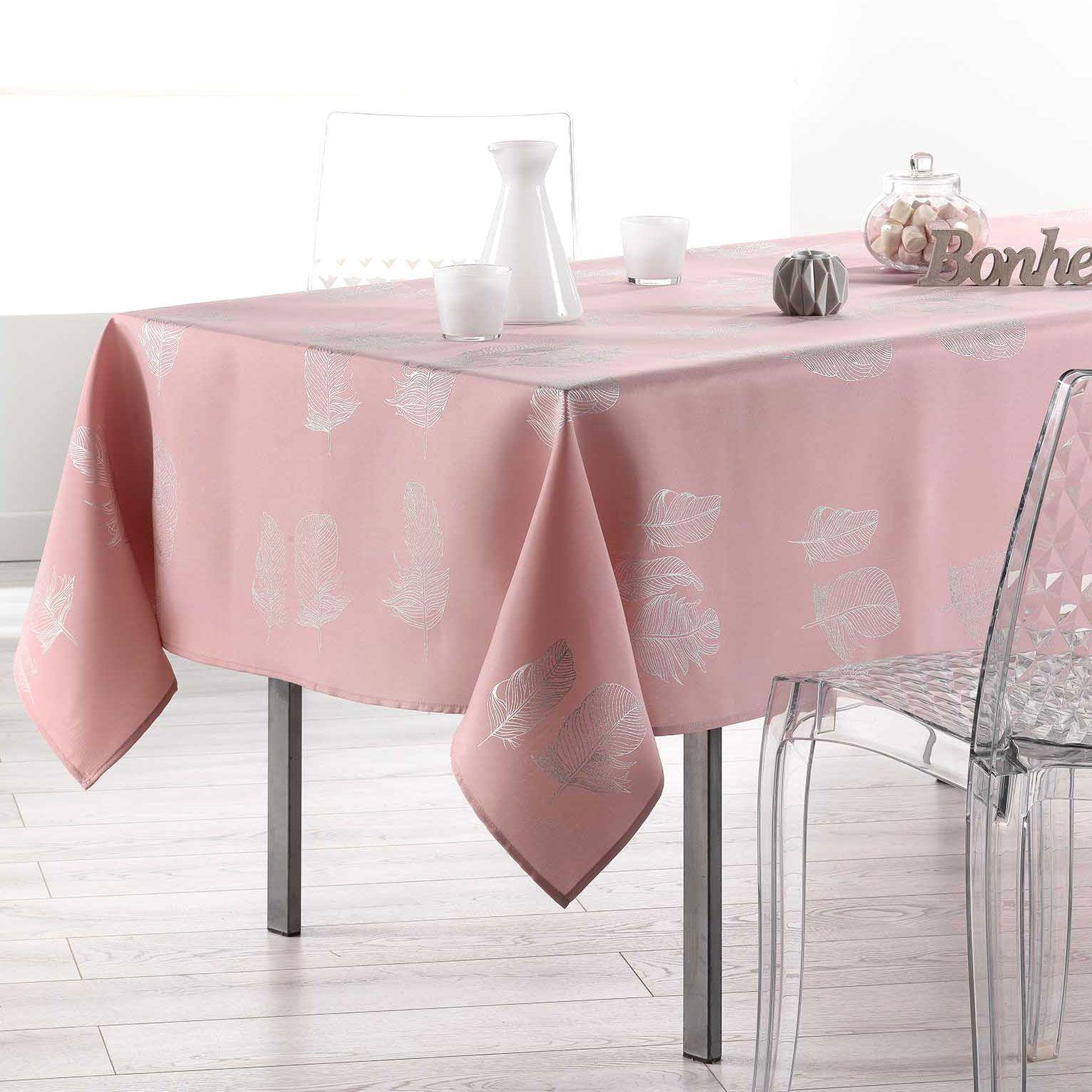 Nappe rectangulaire l300 cm plumia rose drag e nappe - Nappe de table rectangulaire ...