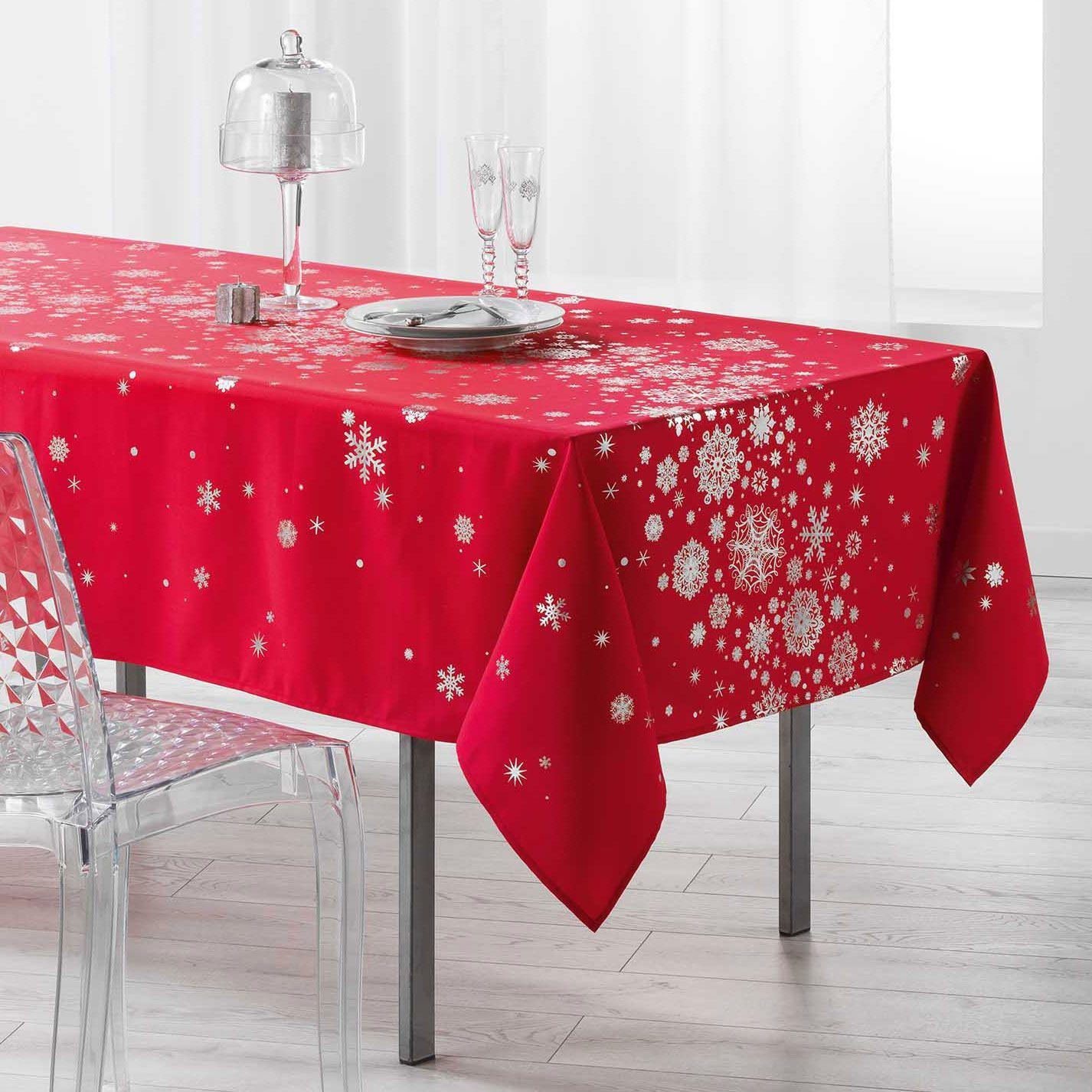 nappe rectangulaire l300 cm constellation rouge linge de table eminza. Black Bedroom Furniture Sets. Home Design Ideas