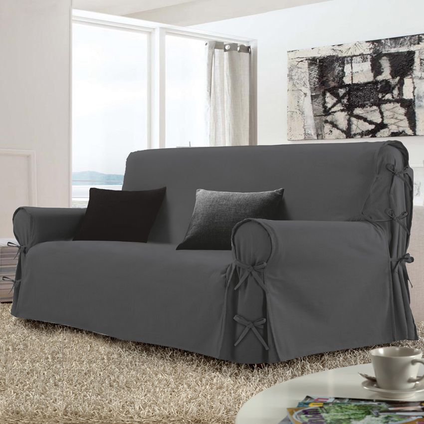 Housse de canap 3 places stella gris anthracite housse for Housse canape 3 places
