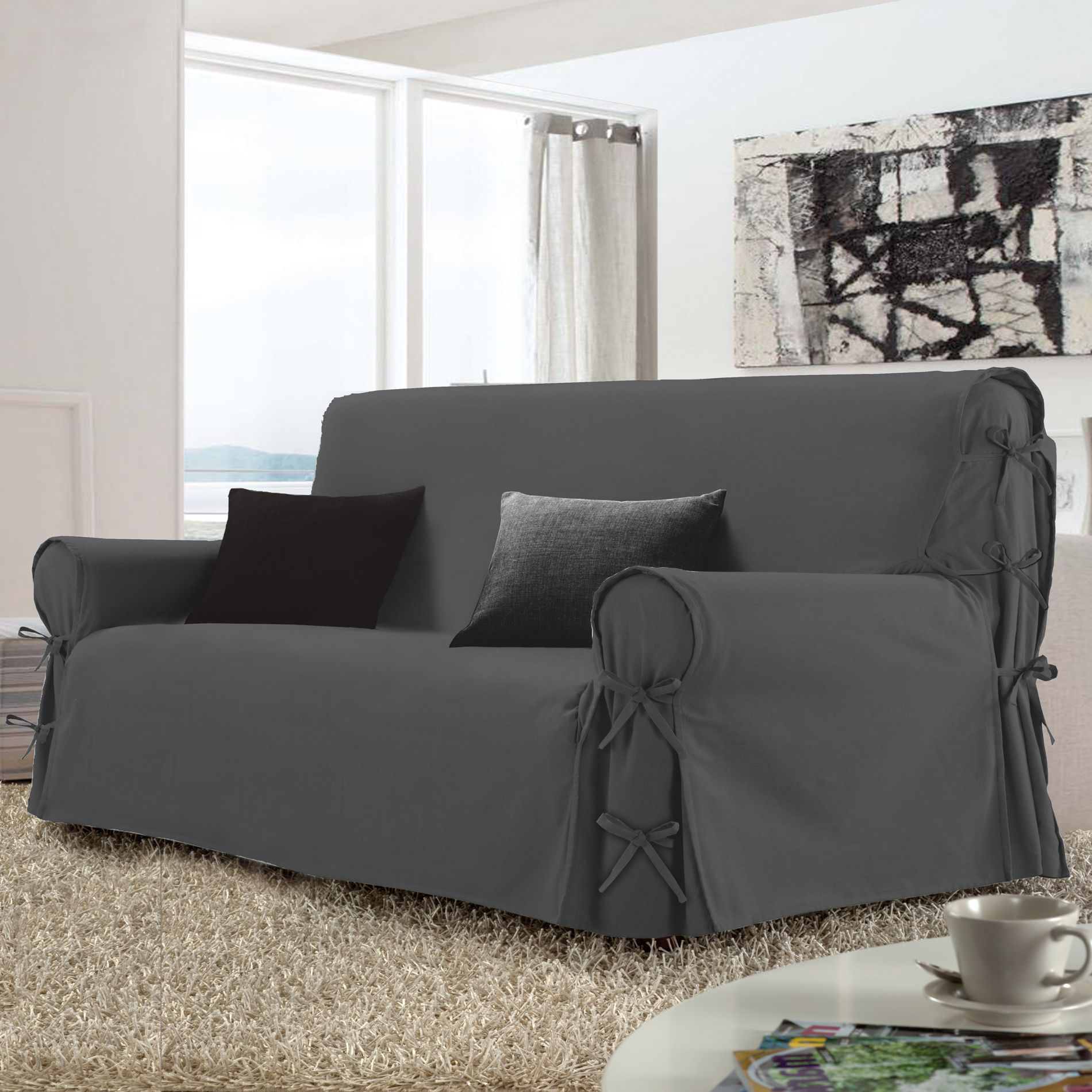 Housse de canap 2 places stella gris anthracite housse for Housse de canape 2 places