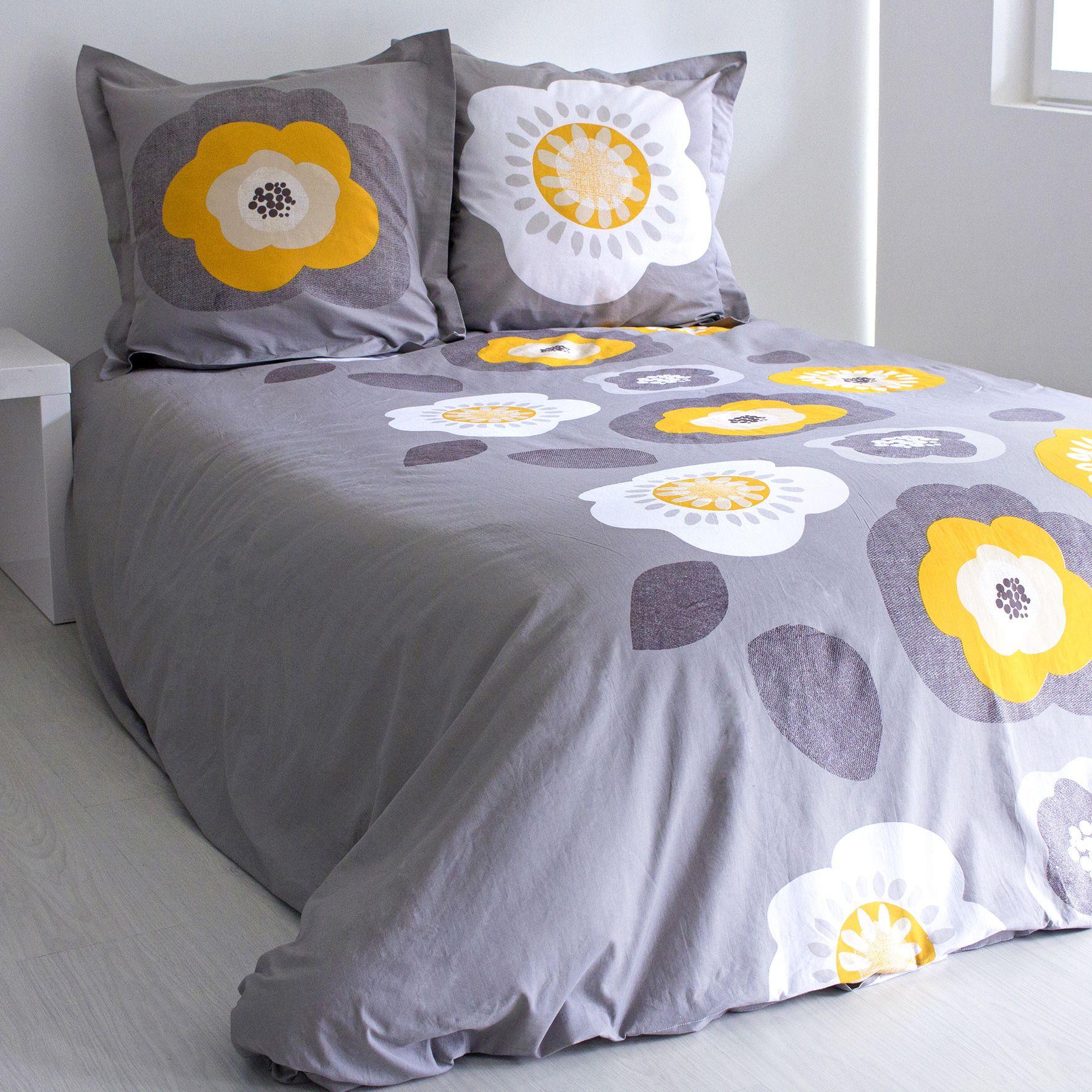 housse de couette et deux taies seventies coton 260 cm taupe housse de couette eminza. Black Bedroom Furniture Sets. Home Design Ideas