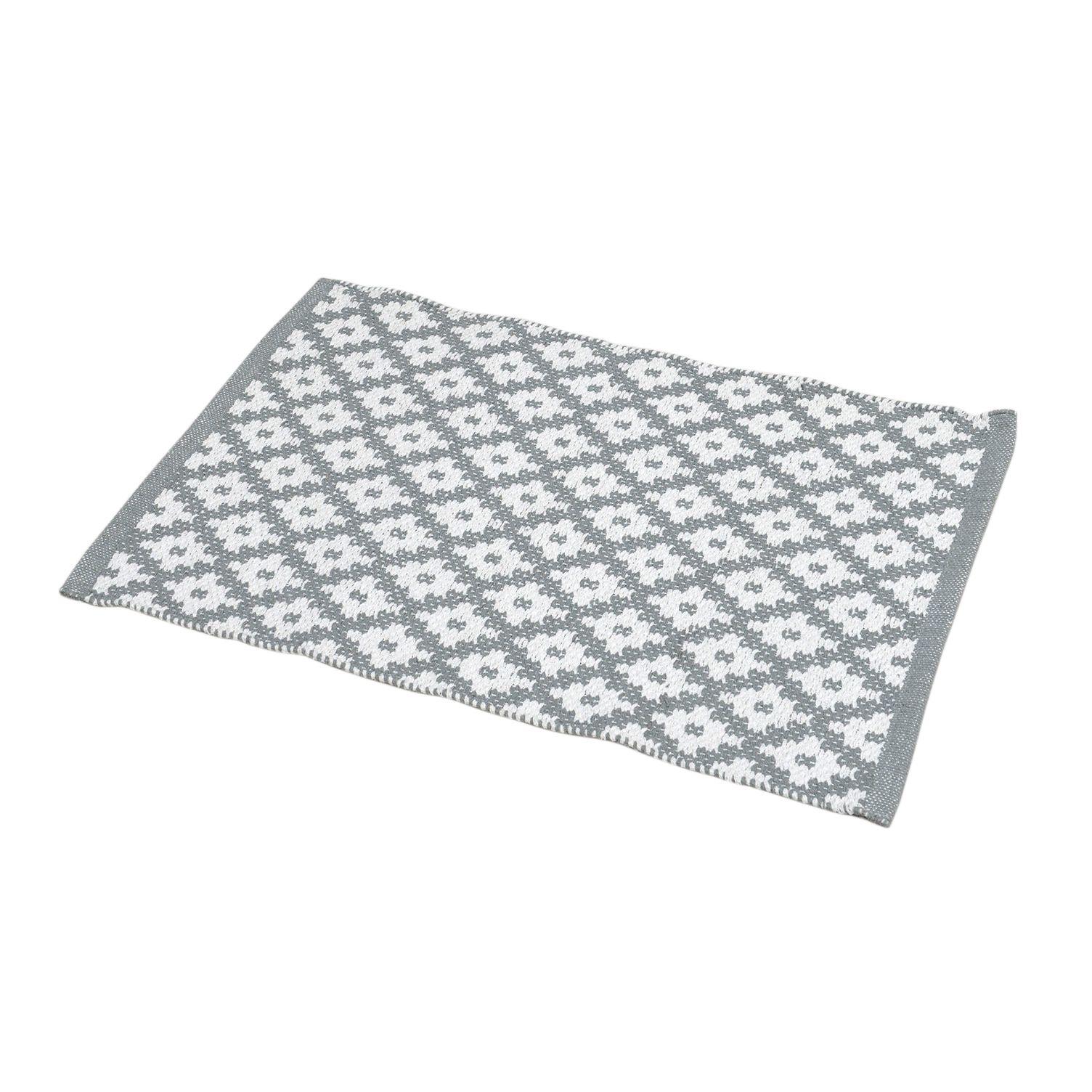tapis de bain ponge imprim losanges blanc et gris tapis salle de bain eminza. Black Bedroom Furniture Sets. Home Design Ideas